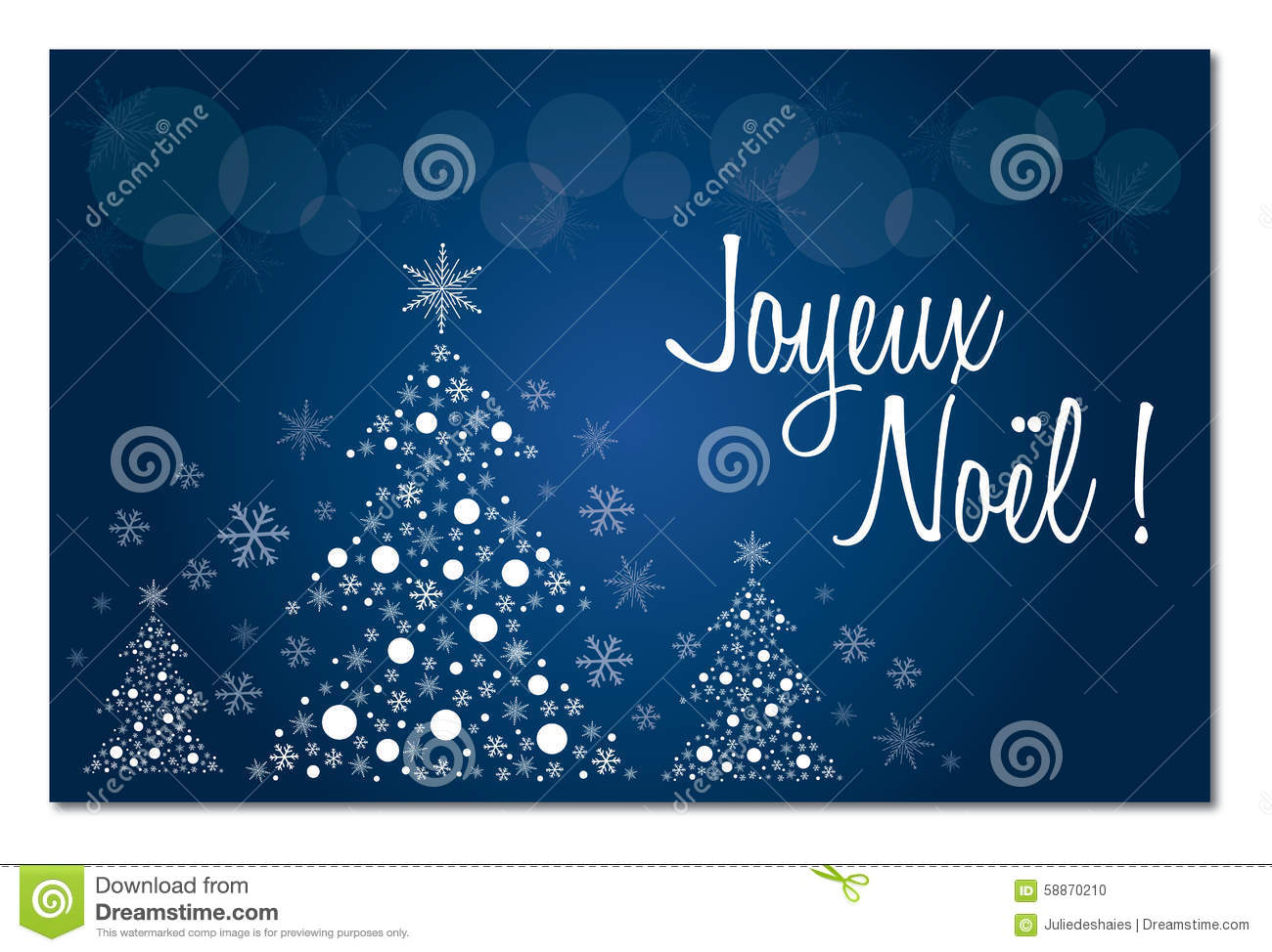 Merry Christmas Blue French Greeting Card In French Illustration