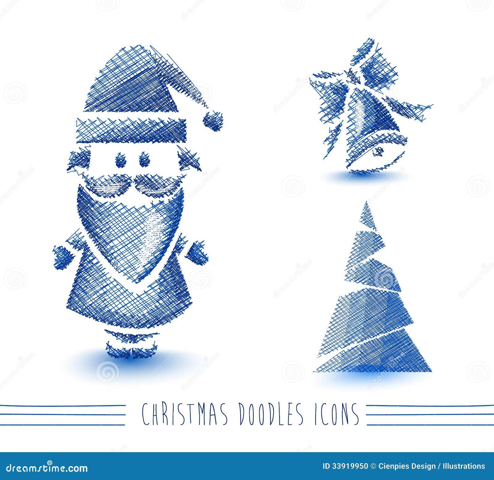 Merry Christmas Blue Sketch Style Elements Set EPS Stock Photo - Image 33919950