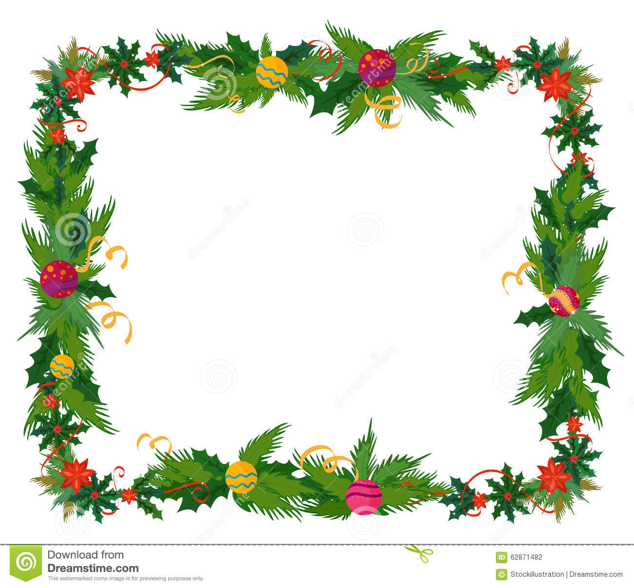 Merry Christmas Border And Decoration Frame Stock Vector