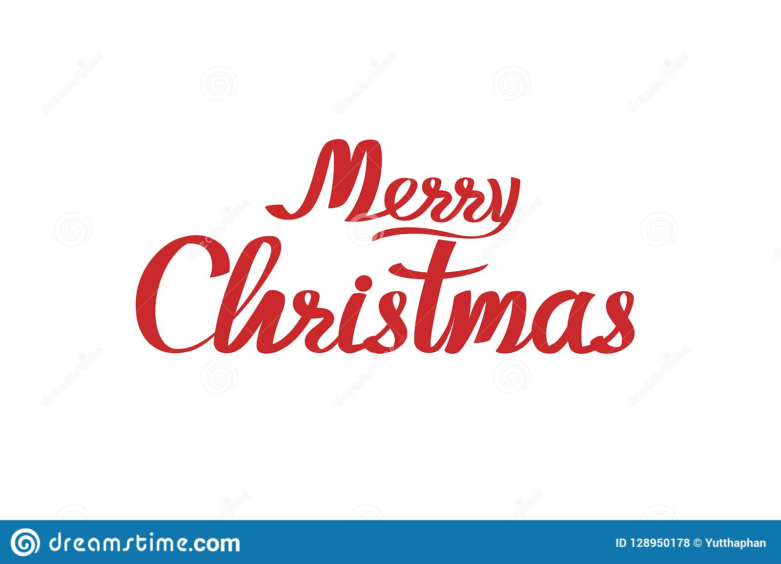 Merry Christmas Calligraphic Lettering Design. Card ...