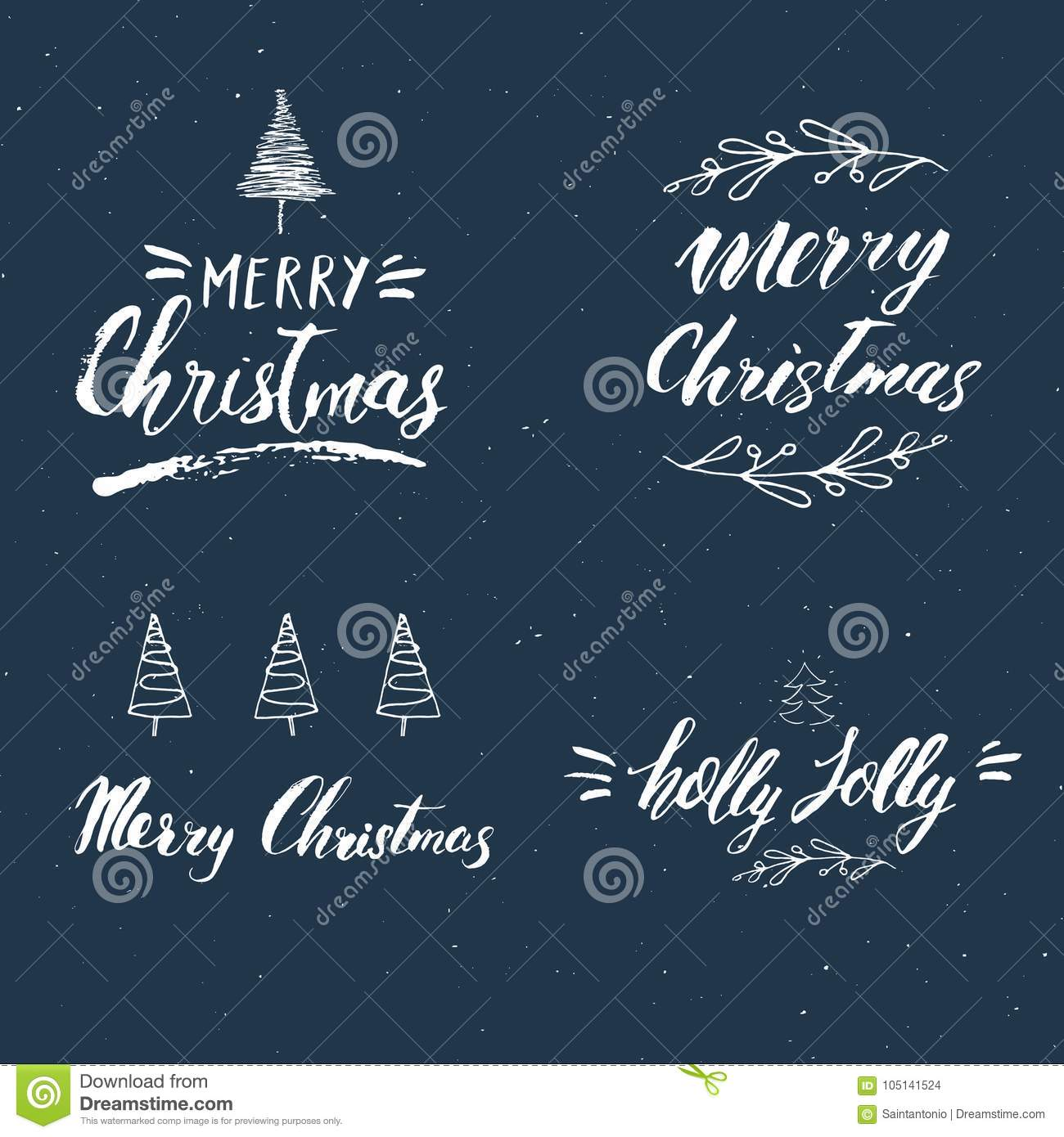 Merry Christmas Calligraphic Letterings Set Typographic Greetings