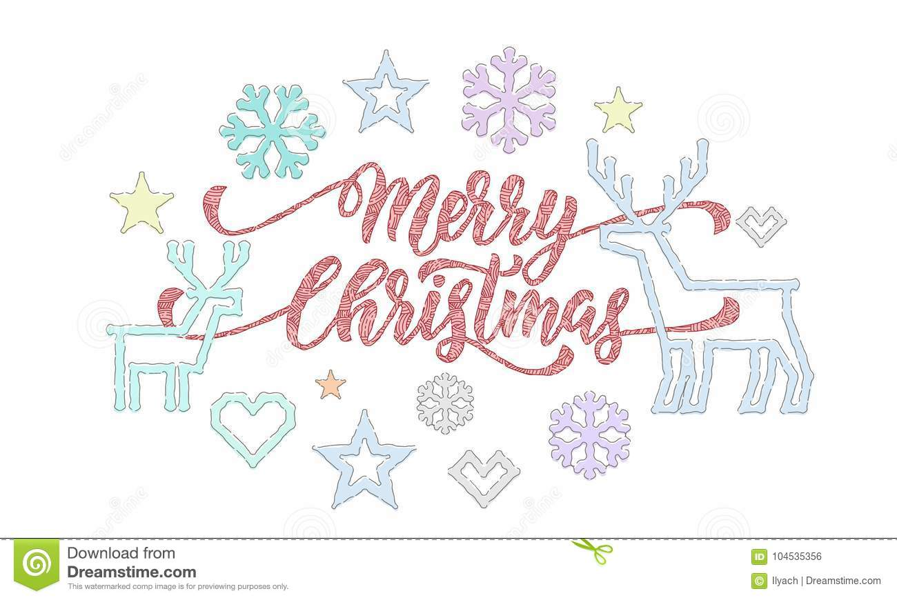 Merry Christmas Calligraphy Font And Embroidery Decorations For