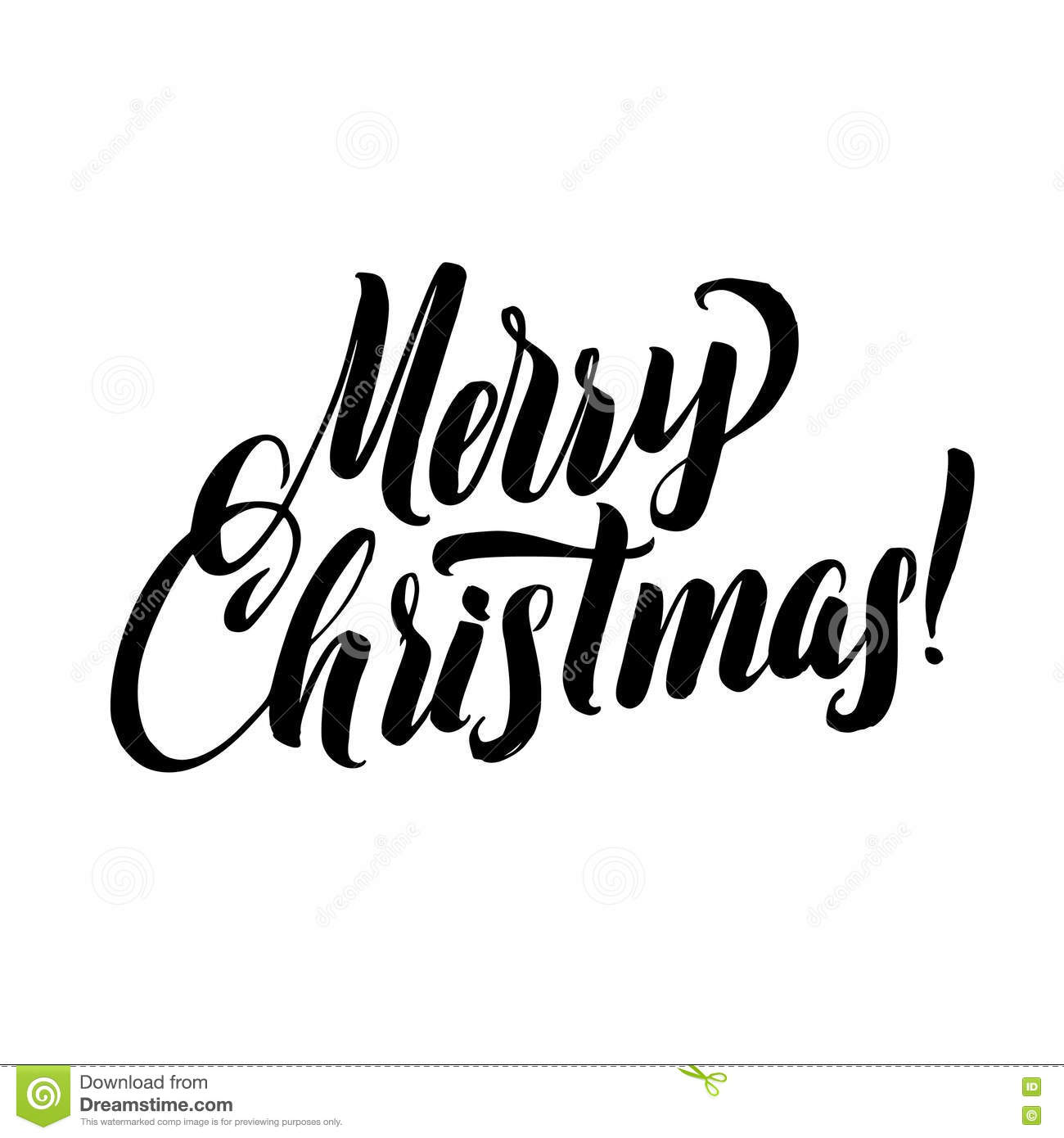 merry christmas calligraphy greeting card black typography on white background