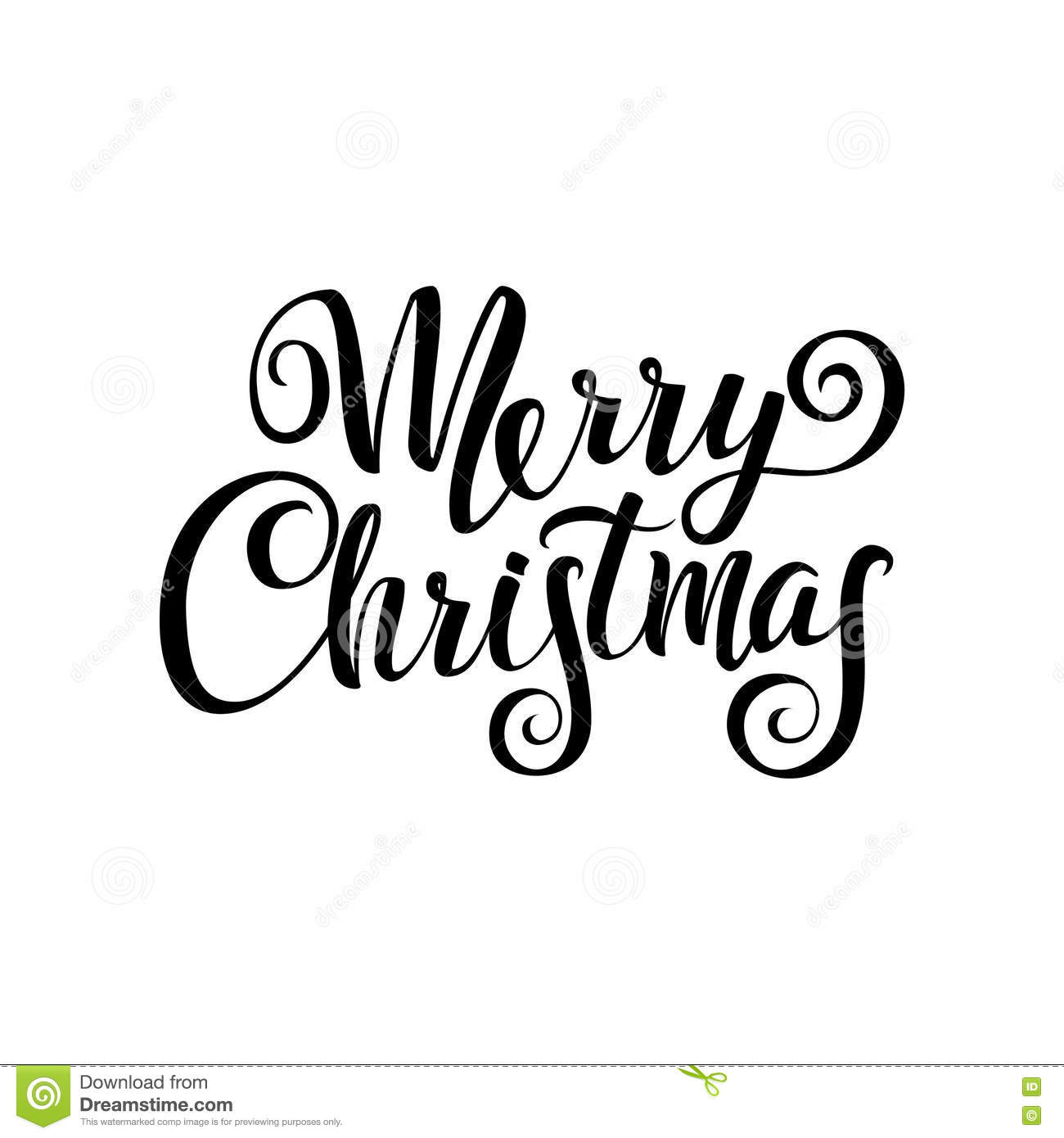 Merry Christmas Calligraphy. Greeting Card Black Typography On White ...