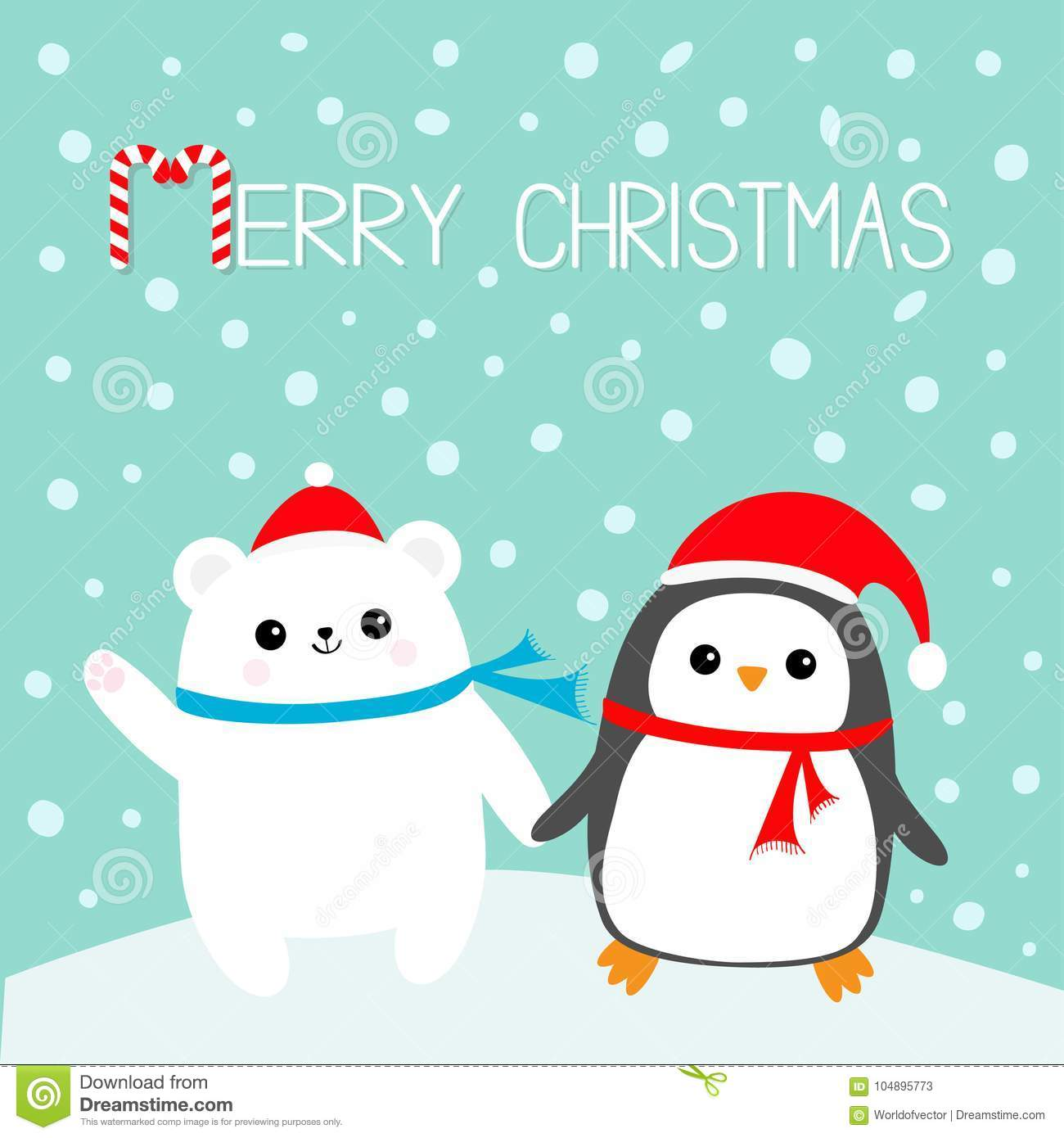 Merry Christmas. Candy Cane. Kawaii Penguin Bird Polar White Bear ...
