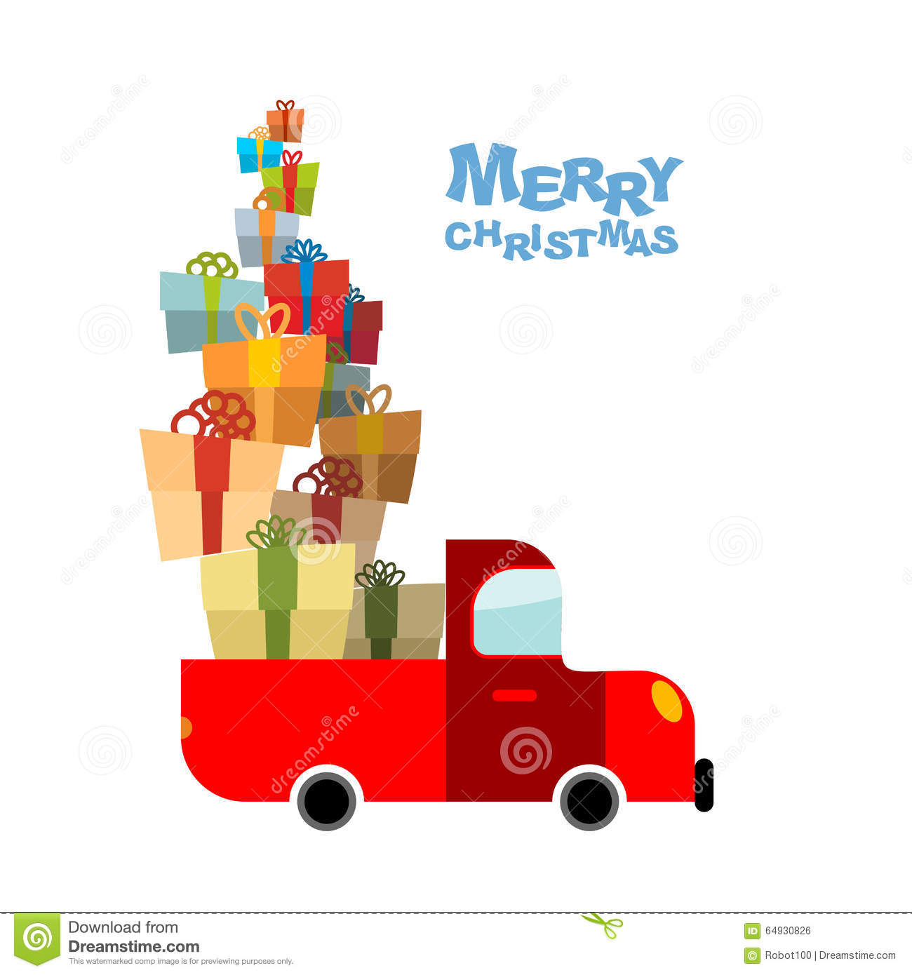 Merry christmas car and lots of gift box truck bunch
