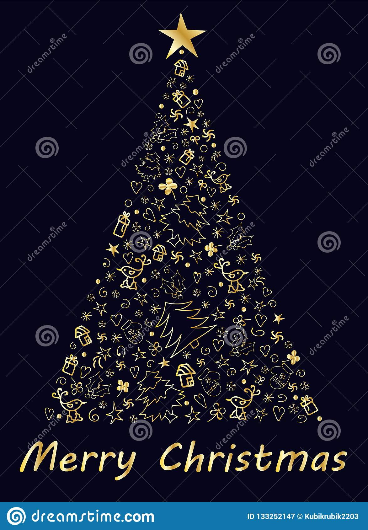 Merry Christmas Card With Big Christmas Tree A Lot Of Different Decoration Vector Illustration Stock Vector Illustration Of Symbol Christmas 133252147