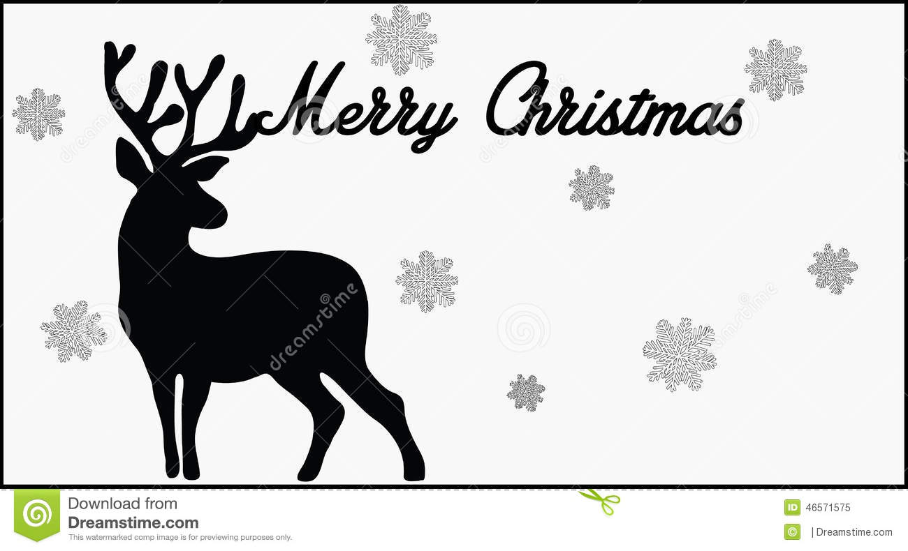 Merry Christmas Images Black And White.Merry Christmas Card Stock Vector Illustration Of Card