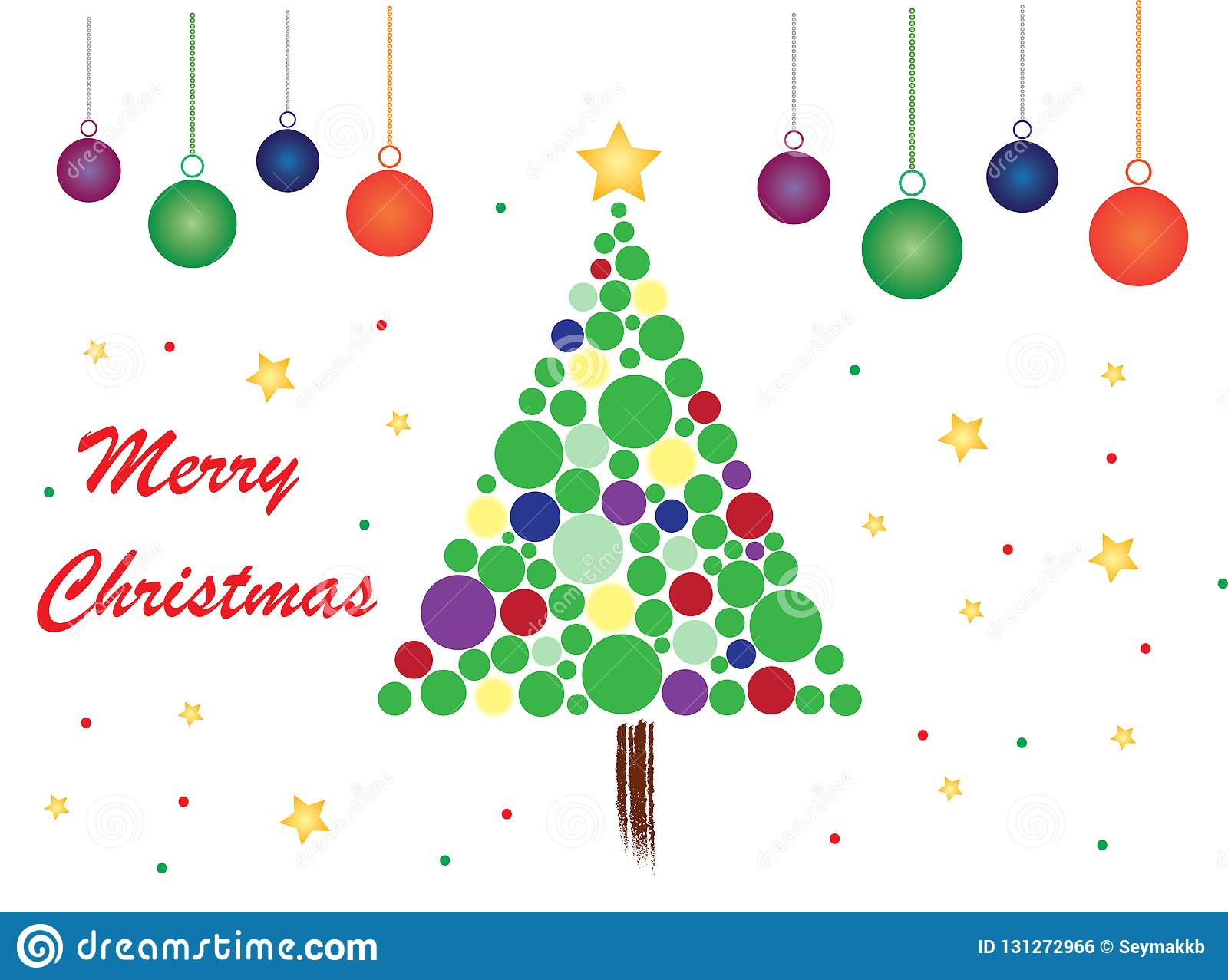 Merry Christmas Theme With White Background and Balls
