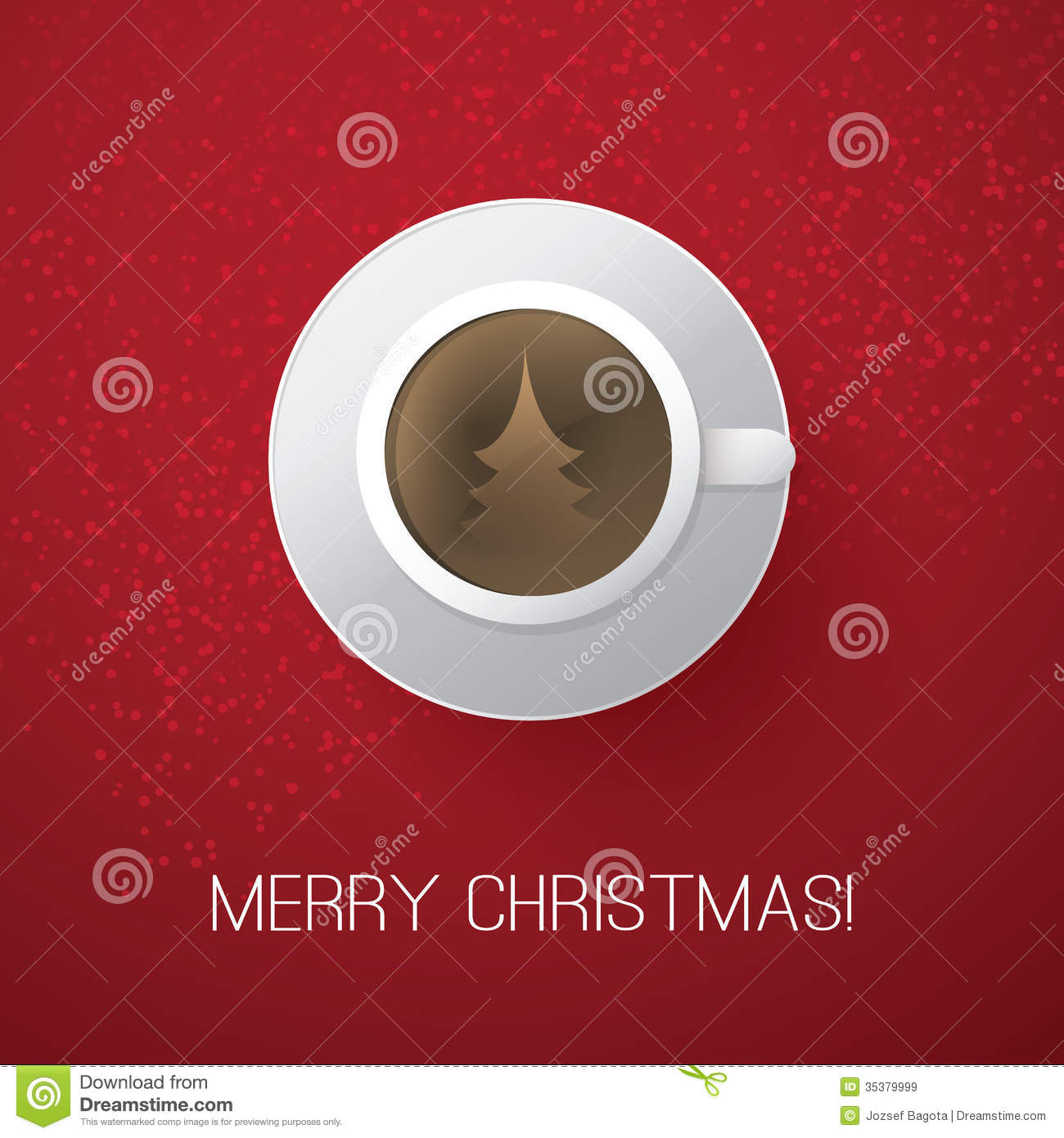 Coffee Christmas Cards.Merry Christmas Card With Coffee Cup Stock Vector