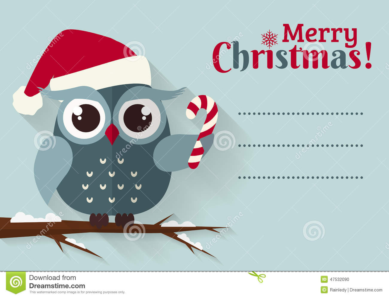 Merry Christmas! Card With Cute Owl And A Place For Text. Stock Vector - Image: 47532090