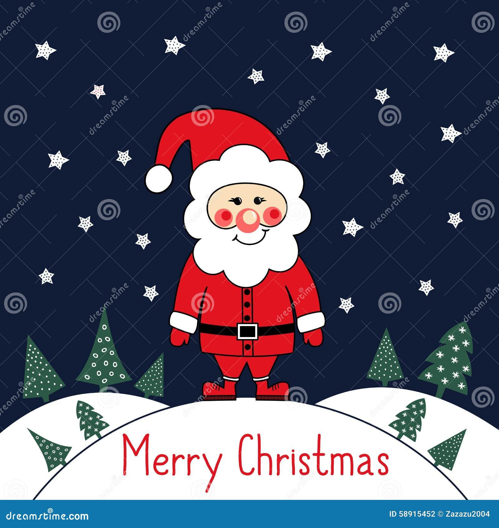 Stock vector merry christmas card with cute santa claus xmas trees