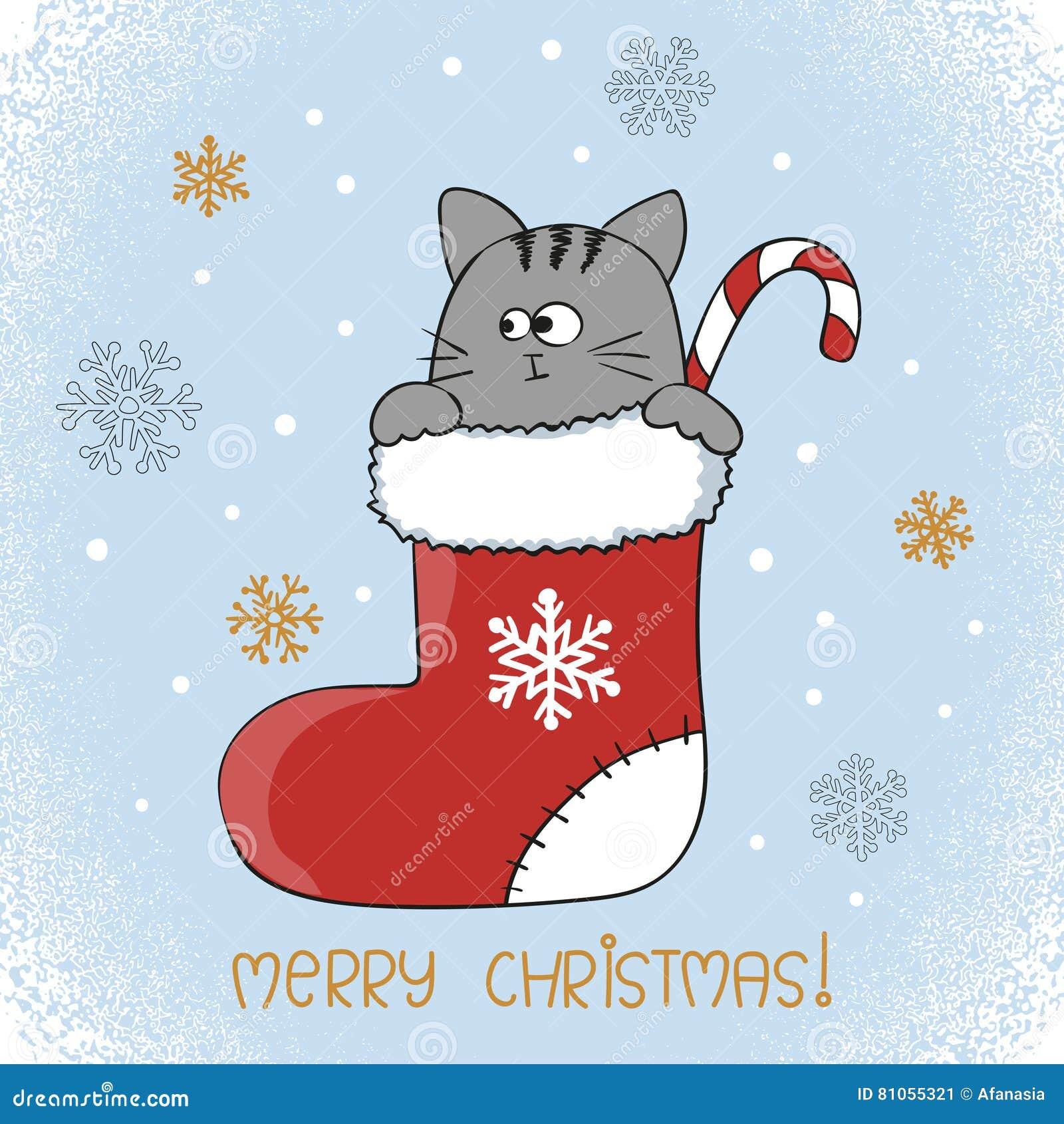 Merry christmas card design cute cat in a christmas stocking merry christmas card design cute cat in a christmas stocking kristyandbryce Image collections