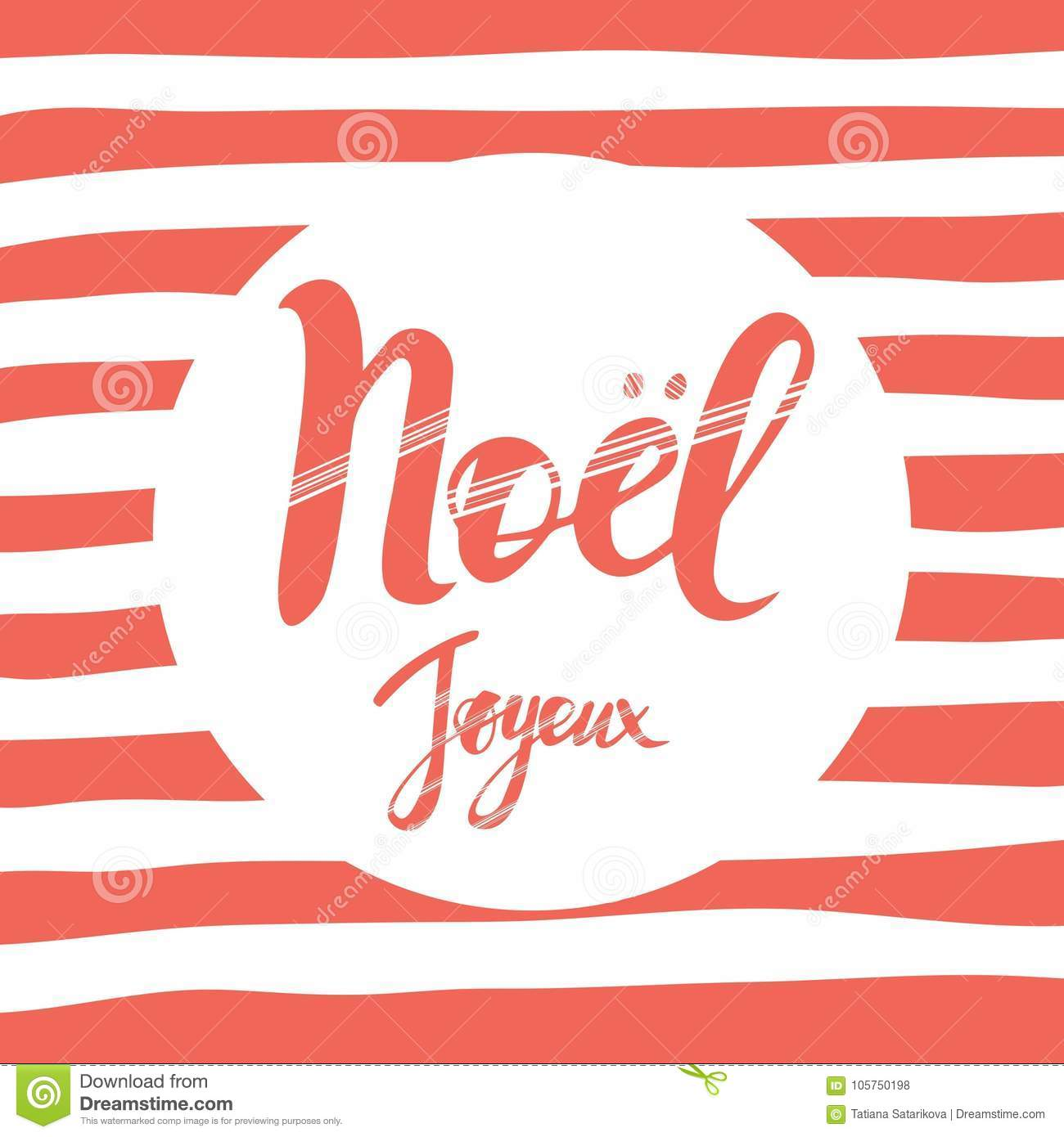Merry Christmas Card Design With Greetings In French Language