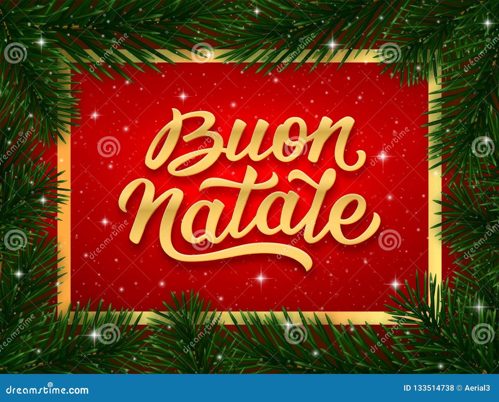 Buon Natale Ornament.Merry Christmas Card Design With Italian Text Stock Vector