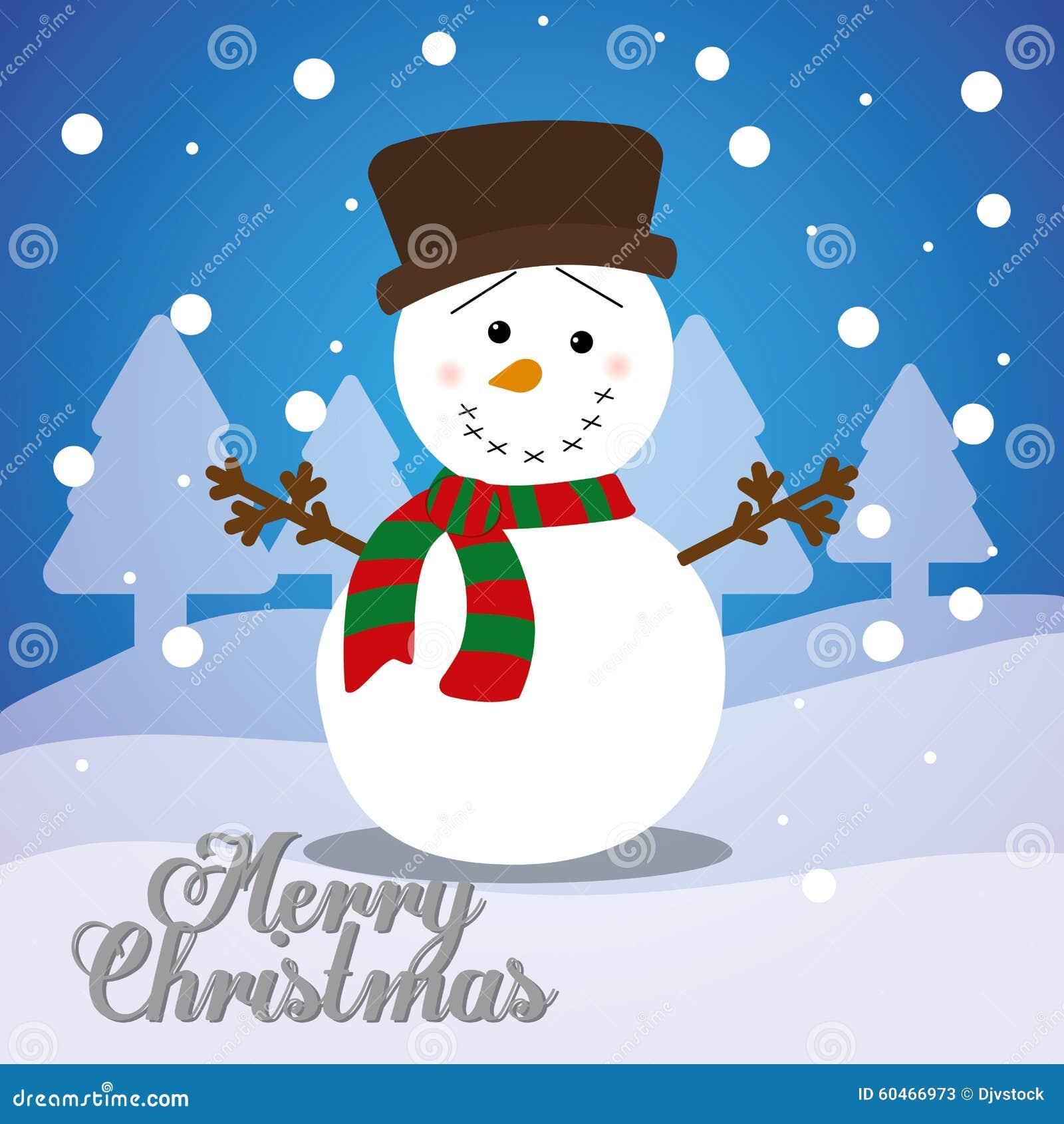 Merry Christmas Card Design Stock Vector - Illustration of snowman ...