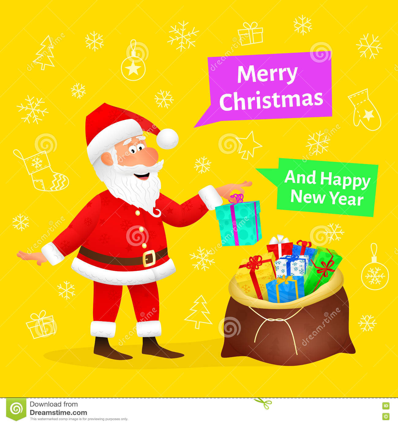 merry christmas card flat funny old man character holding xmas gift on christmas background