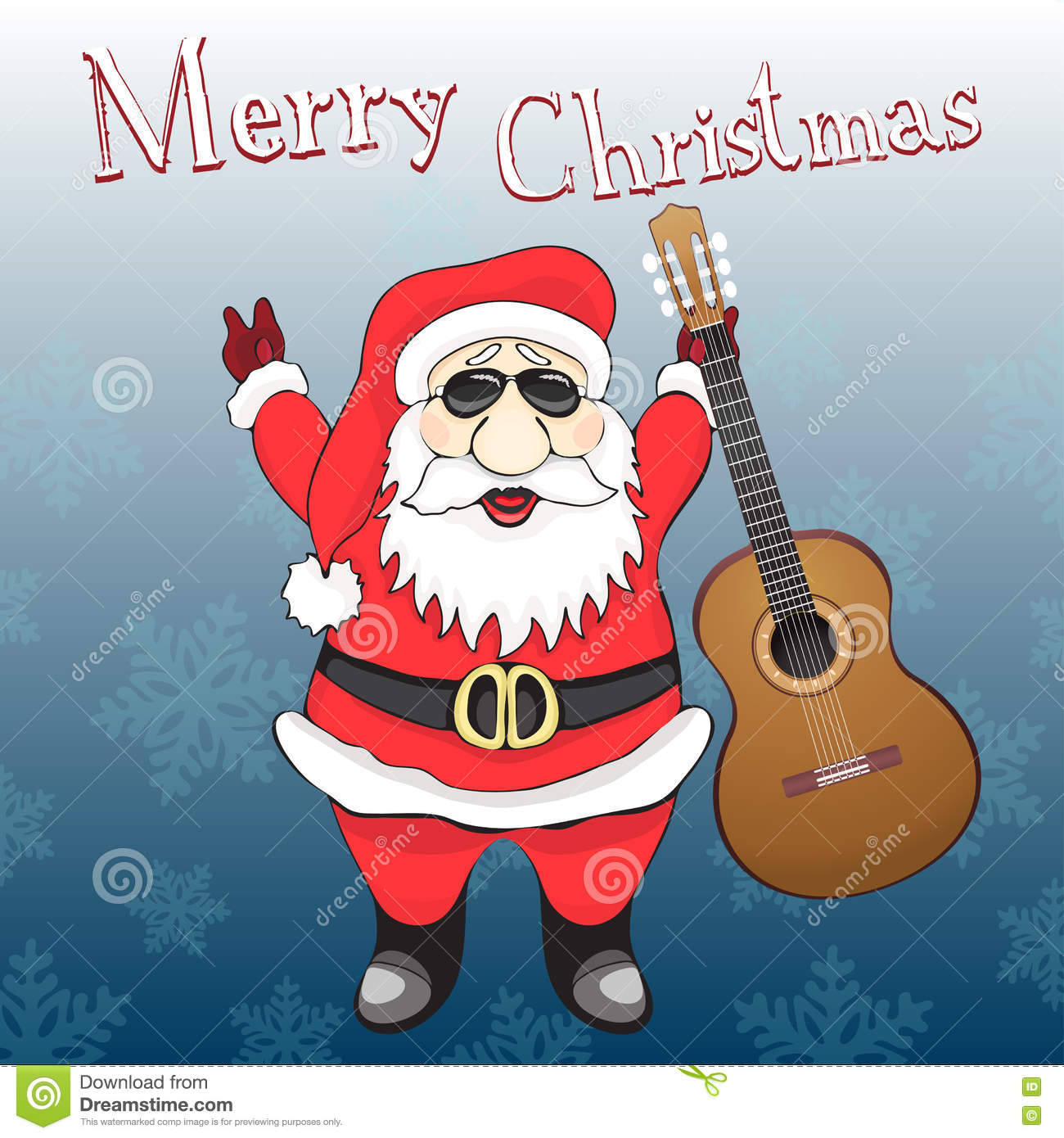 Merry Christmas Card Funny Rock And Roll Santa Claus In Sunglasses