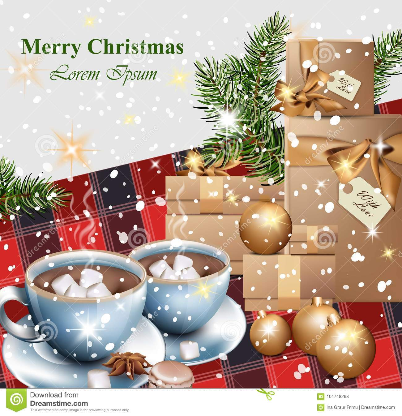 Merry Christmas Card With Gifts And Hot Chocolate Cups Vector