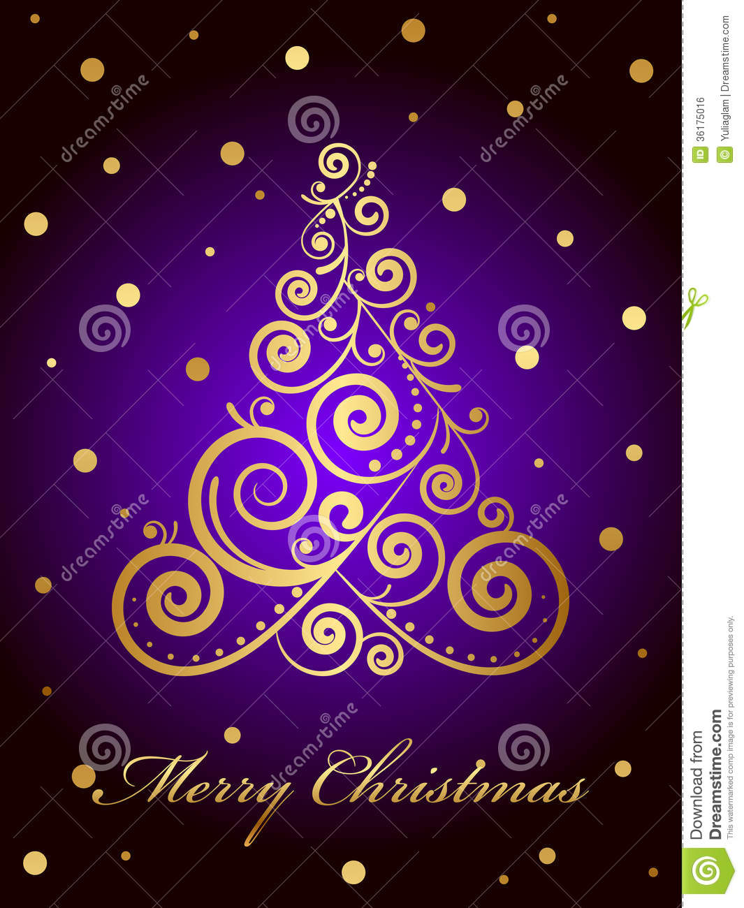 Merry Christmas Card With Gold Ornate Christmas Tr Royalty Free ...
