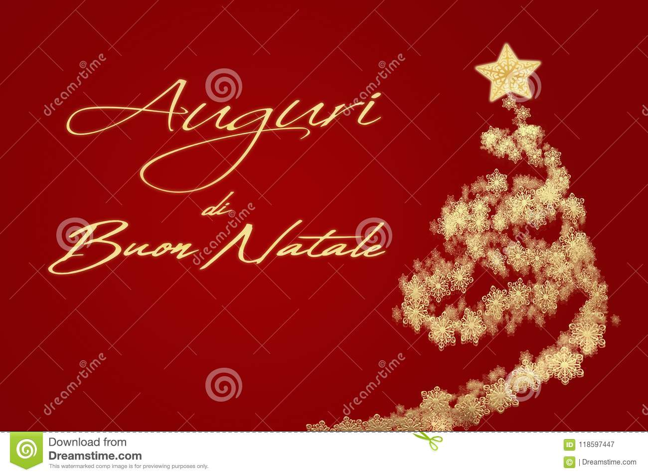Merry Christmas In Italian.Merry Christmas Card With Greeting In Italian Stock