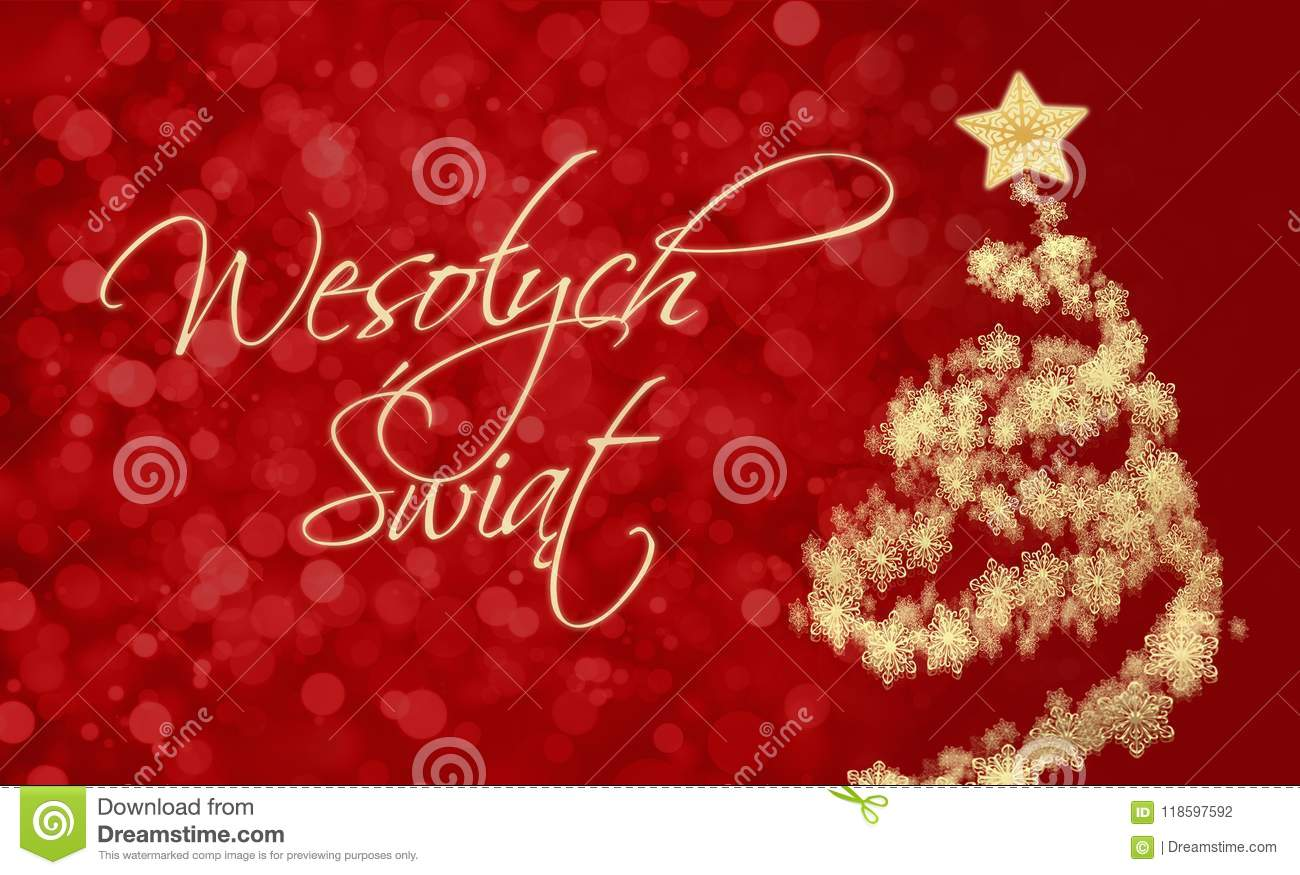 Merry Christmas In Polish.Merry Christmas Card With Greeting In Polish Stock