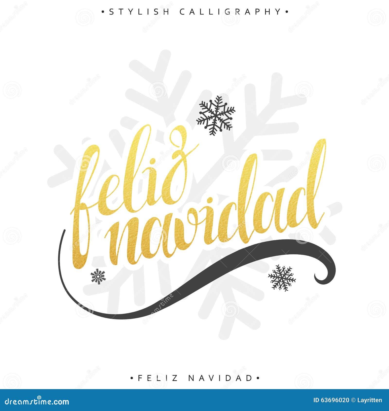 Merry Christmas Card With Greetings In Spanish Language Feliz