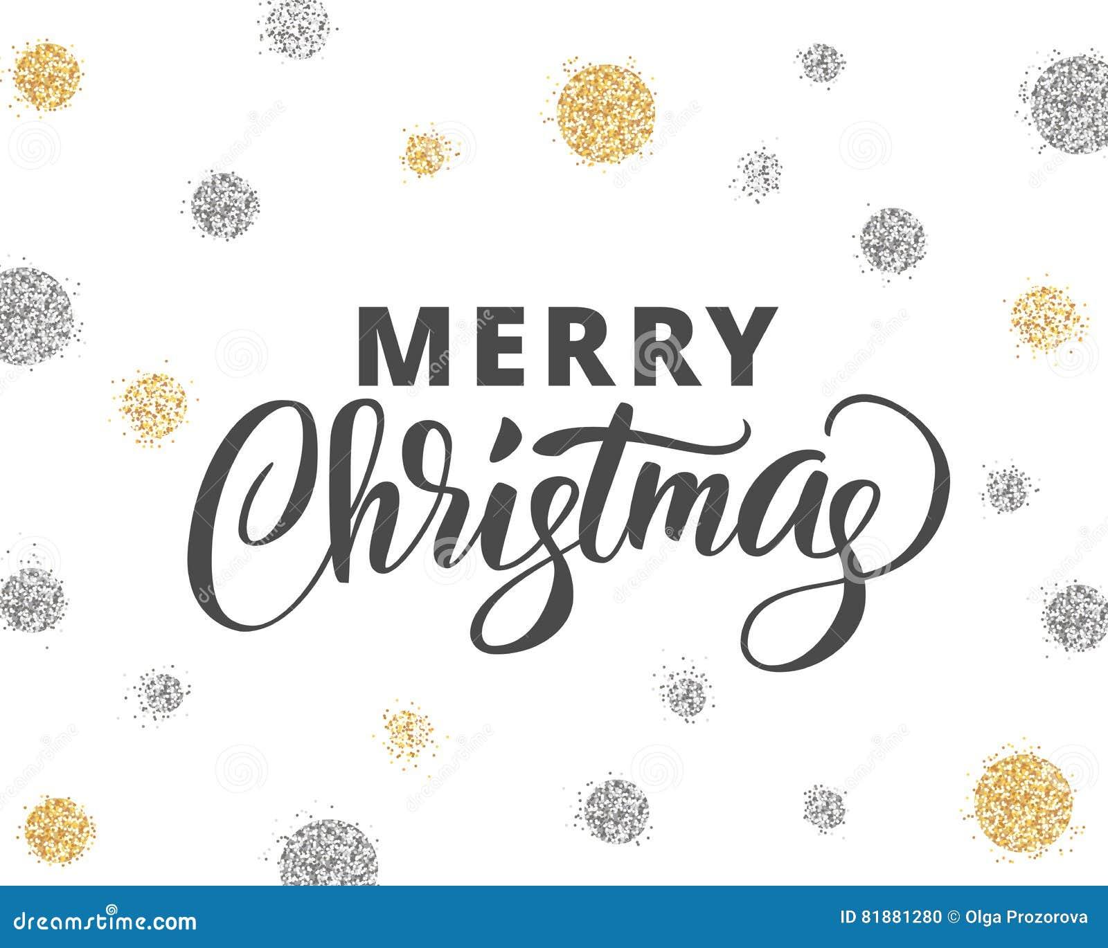 Text Decoration Italic: Glitter Silver Inscription Merry Christmas Vector