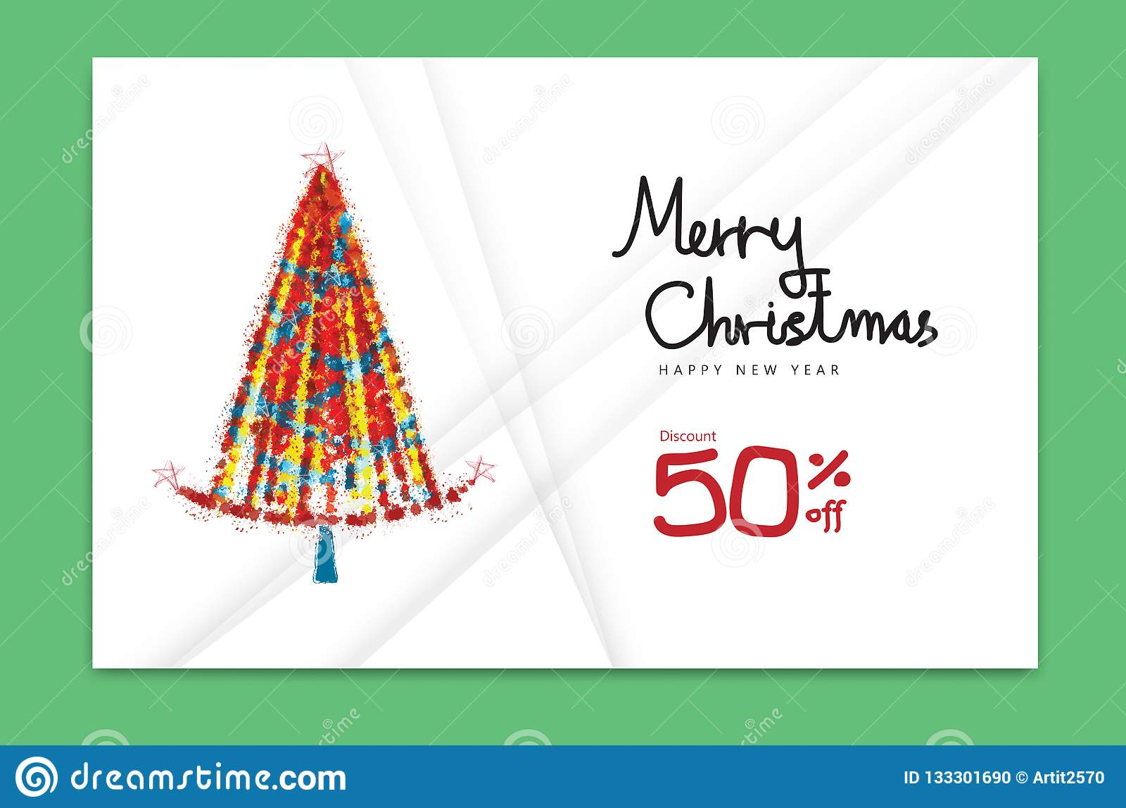 Merry Christmas Card 2019 Happy New Year Banner Christmas Tree
