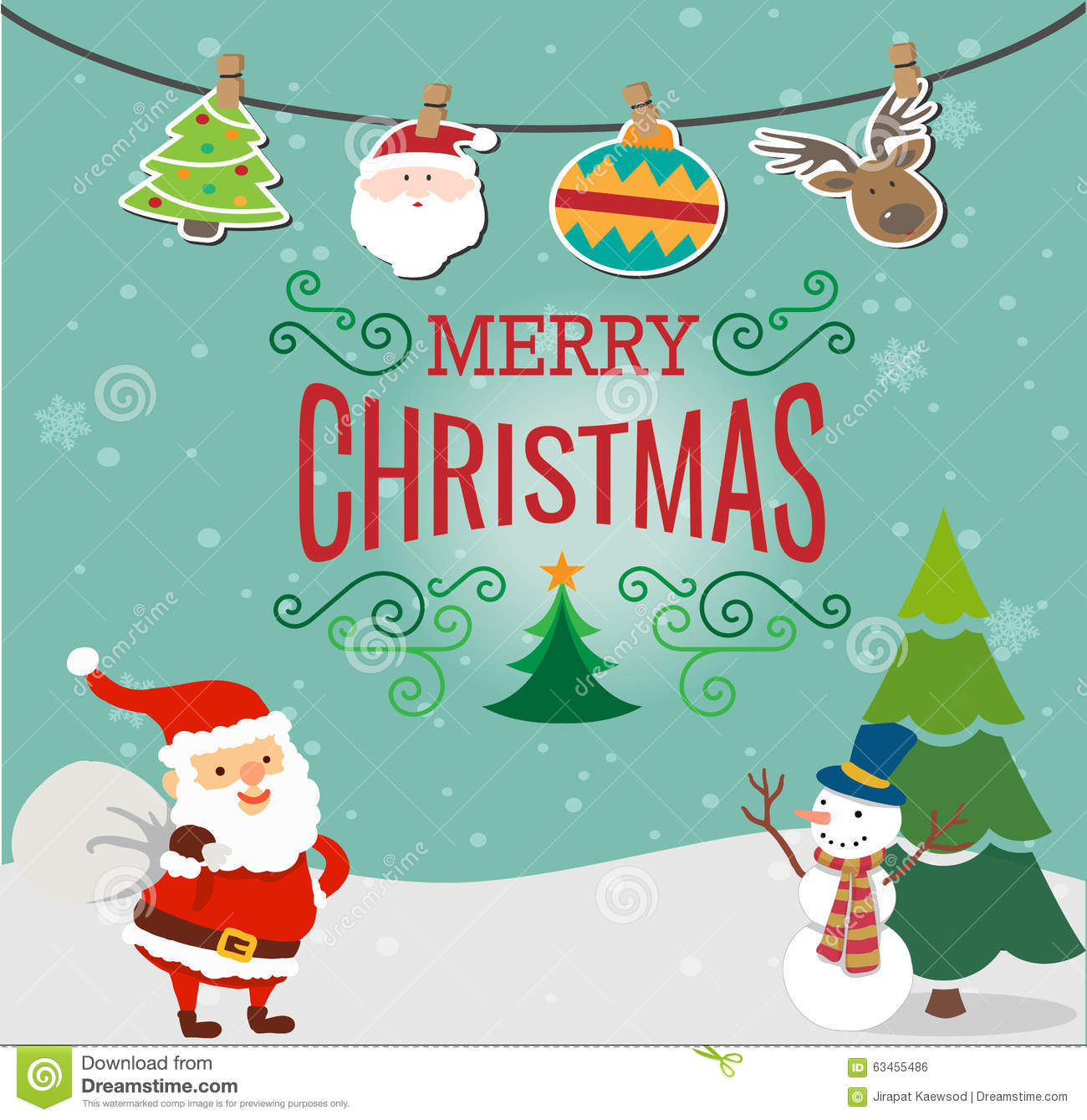 Merry christmas card stock illustration. Illustration of card - 63455486