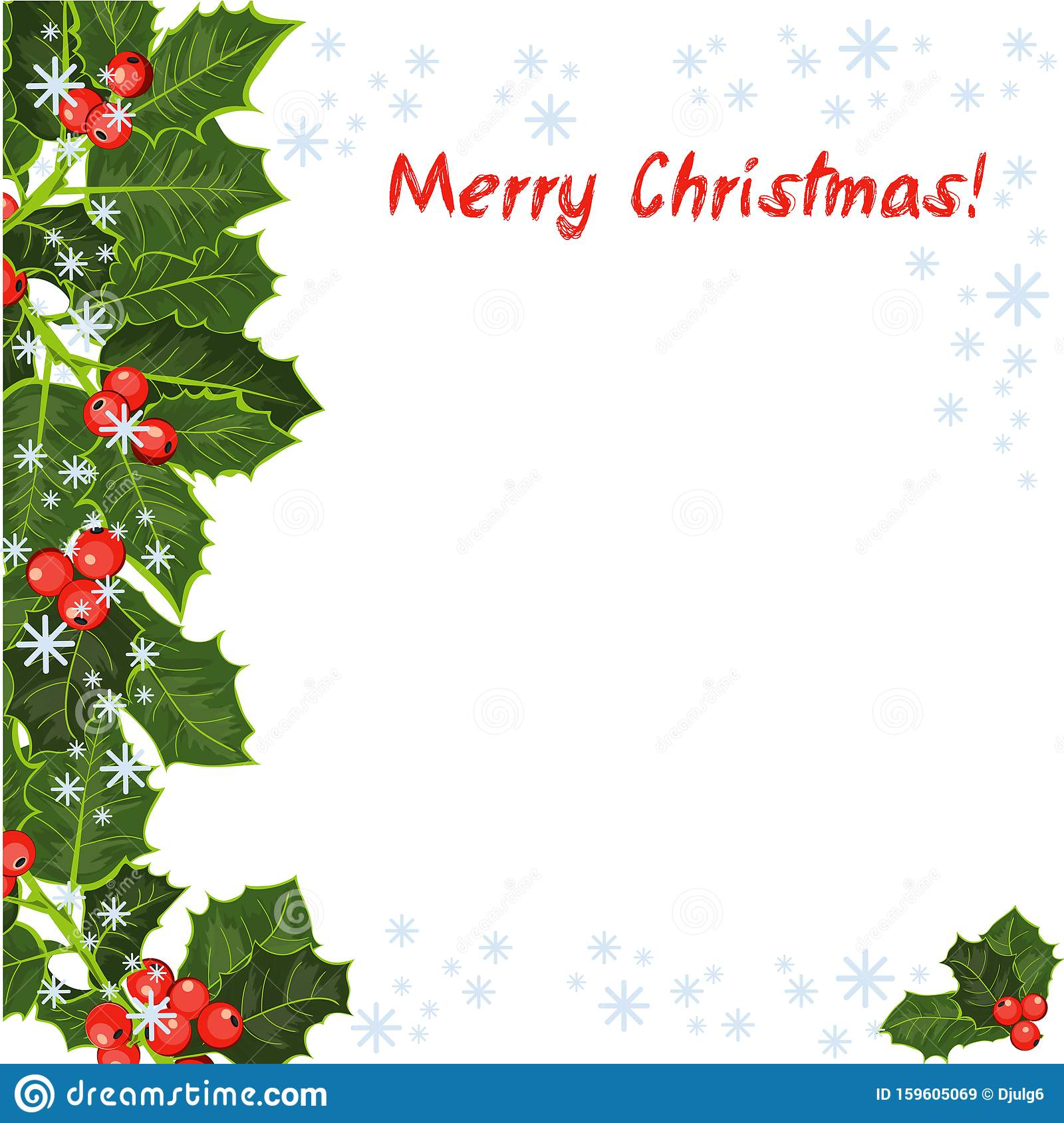 merry christmas card holly tree greeting cards template