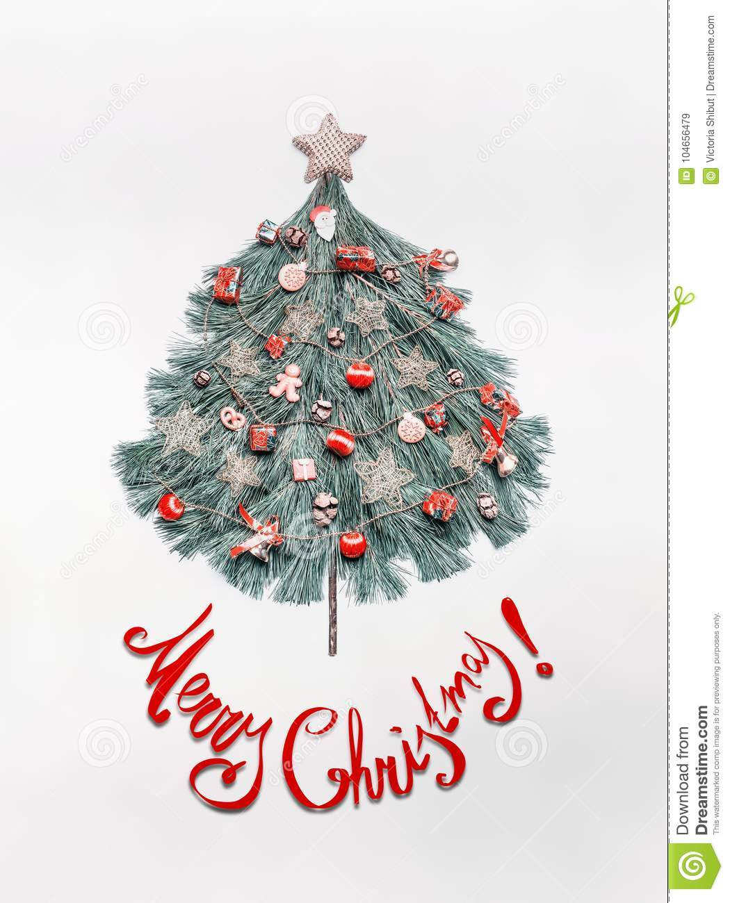 Merry Christmas card with lettering, tree made with fir branches, decorated with star and red festive decorations , holidays cooki