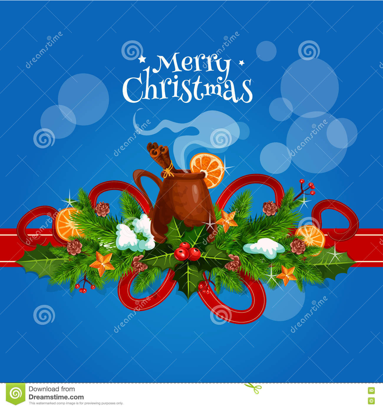 Merry Christmas Card With Mulled Wine Stock Vector Illustration Of