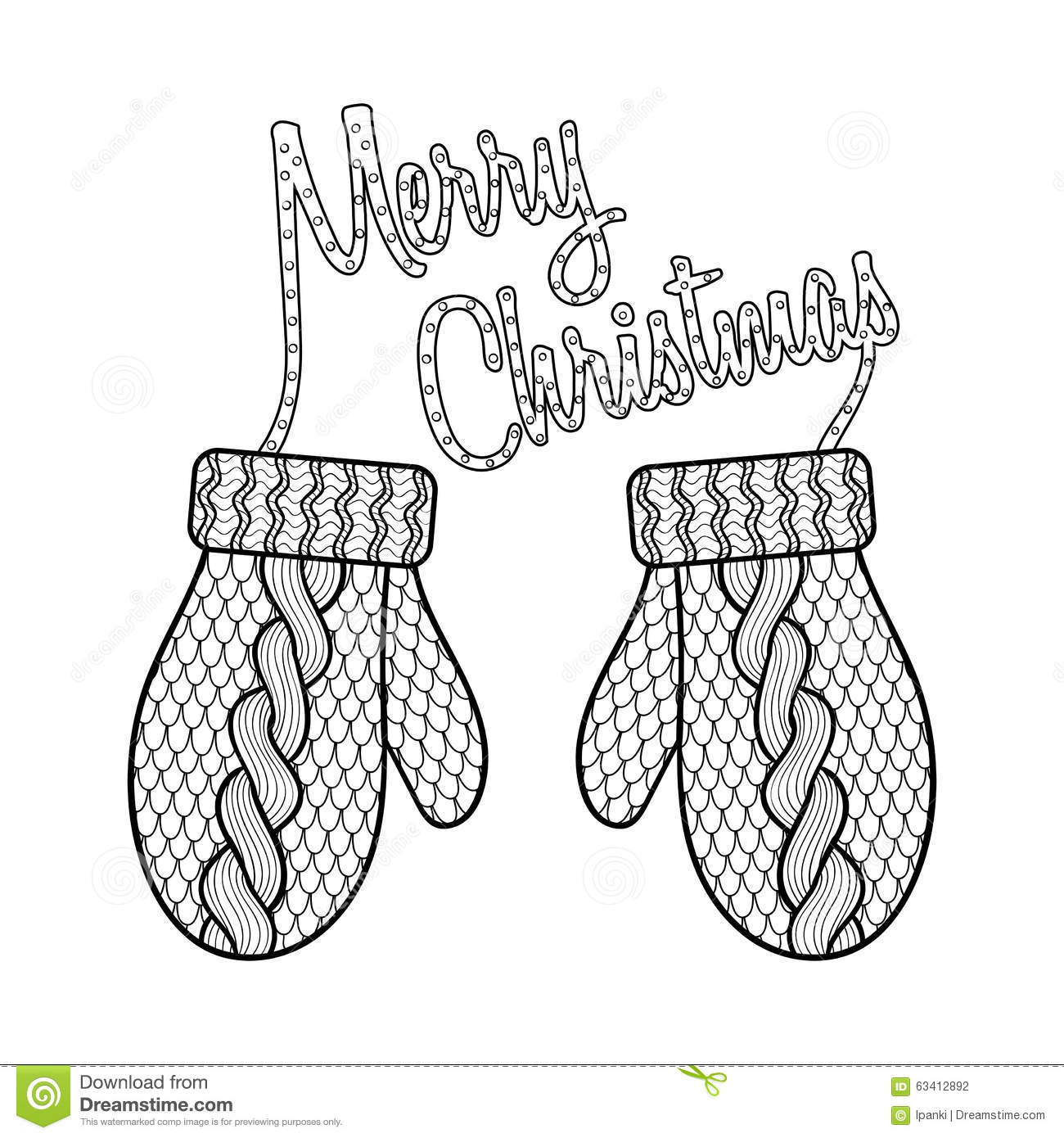 merry christmas card with patterned wishes and knitted mittens