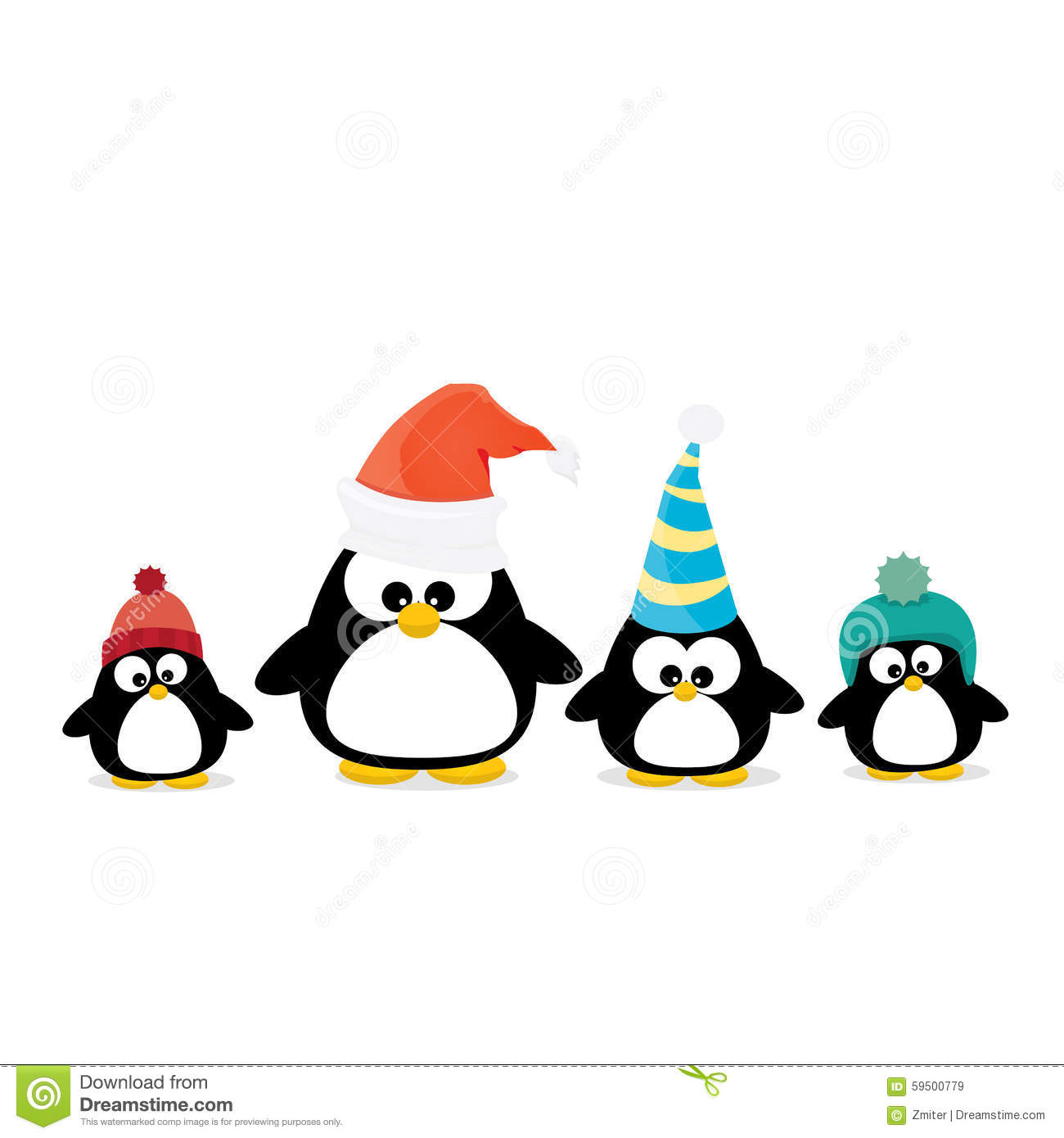 merry christmas card with penguins set stock vector illustration