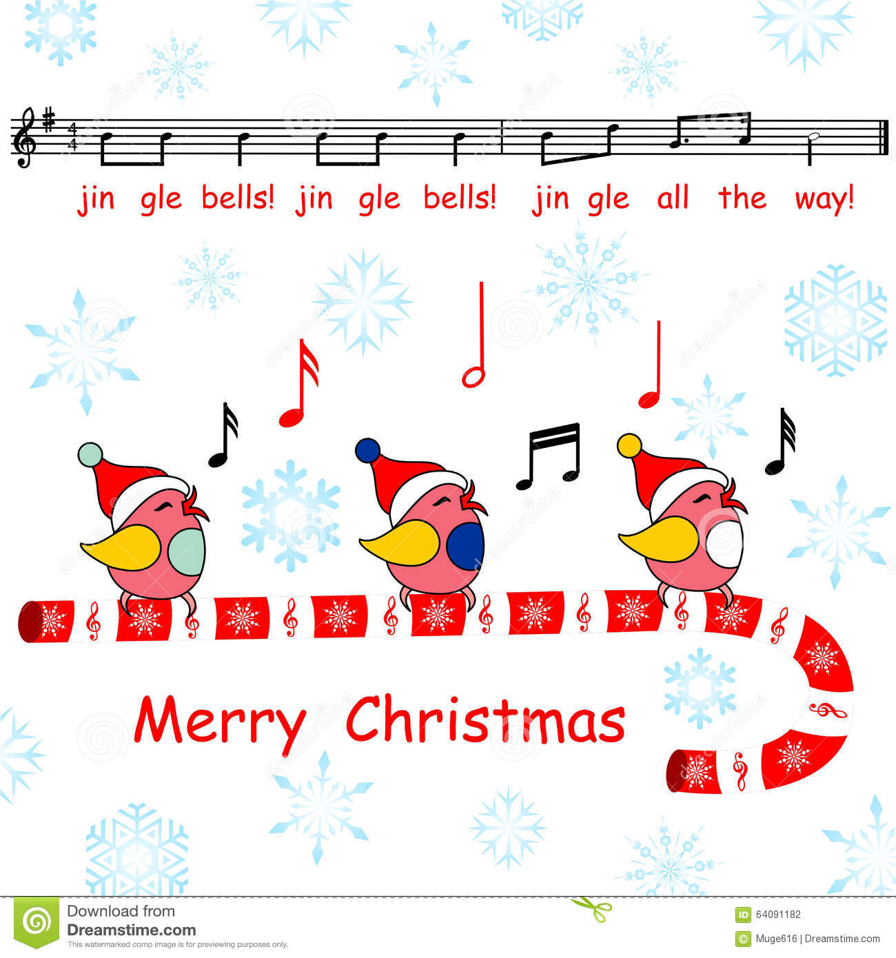 Merry Christmas Card,said The Jingle Bells Song Birds Stock Photo ...