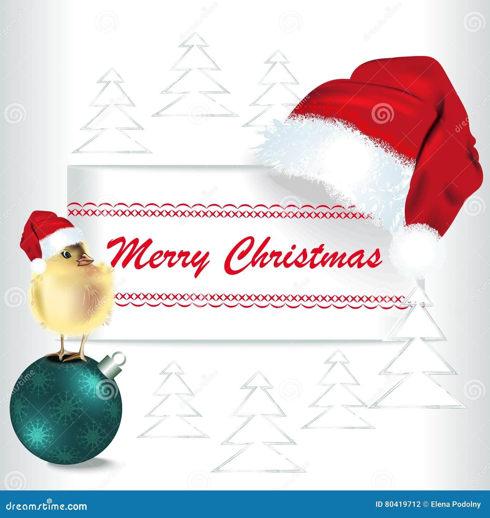 Chicken Santa Claus. Christmas Card, Chick Clothing Santa Ringin ...