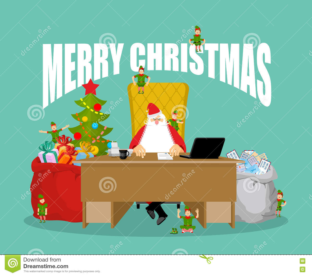 Checks By Mail >> Merry Christmas Card Santa Claus Checks Mail From Children