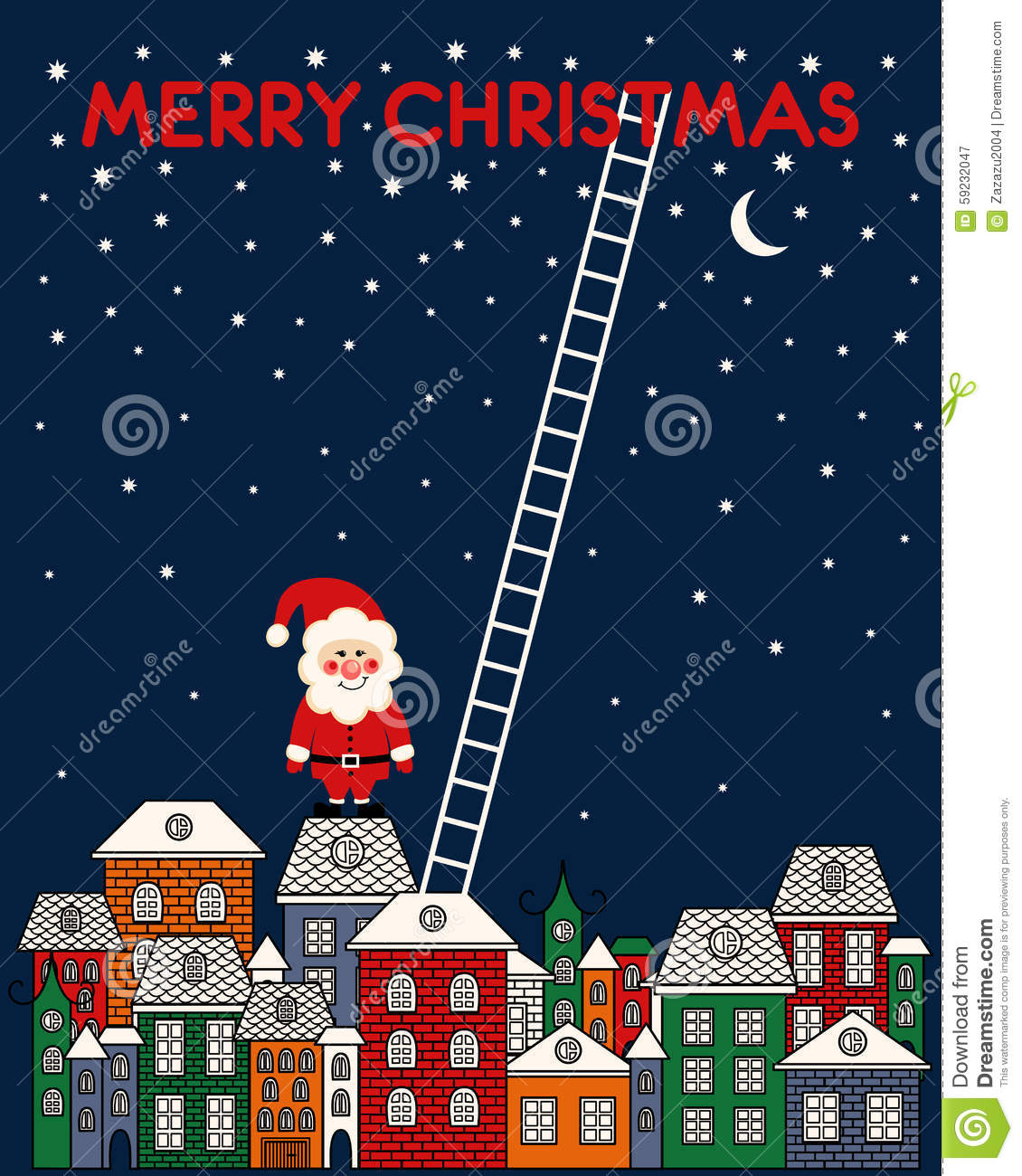 Merry En: Merry Christmas Card With Santa Claus, Old Town, Night Sky