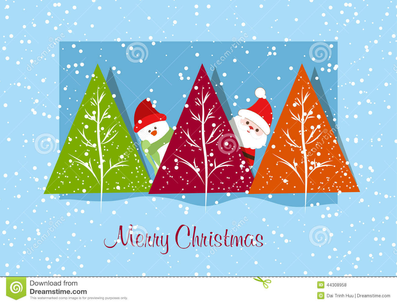Merry Christmas Card With Santa Claus Snowman And