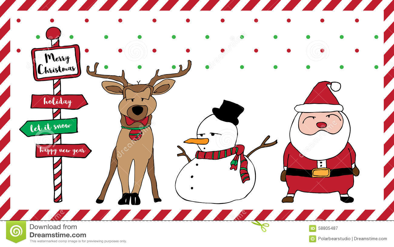 Merry Christmas Card Santa Reindeer Snowman Stock Vector