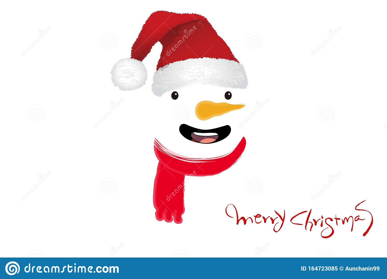 Merry Christmas card with snowman on white background .