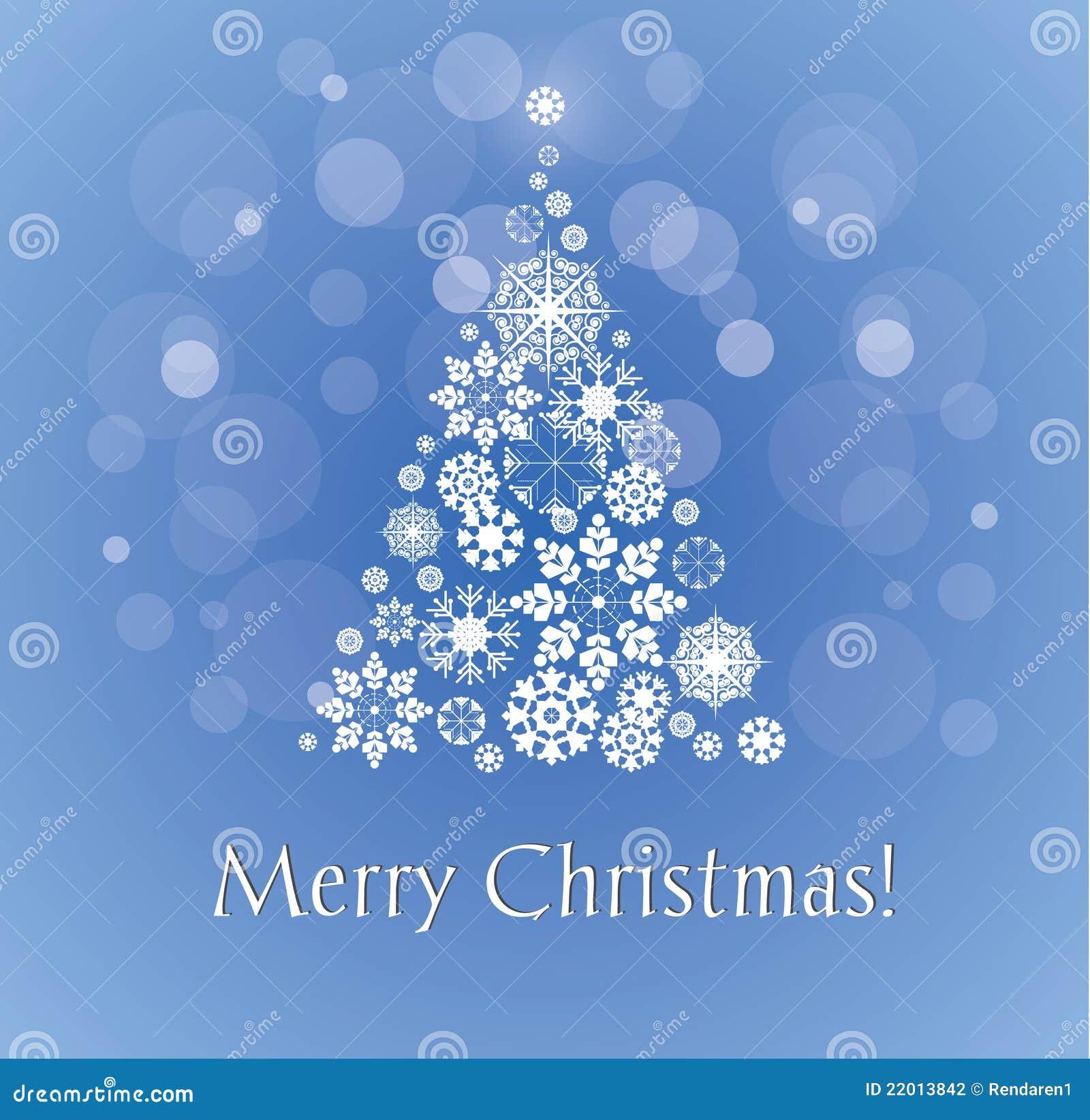 Merry Christmas Card With Snowy Christmas Tree Stock Vector
