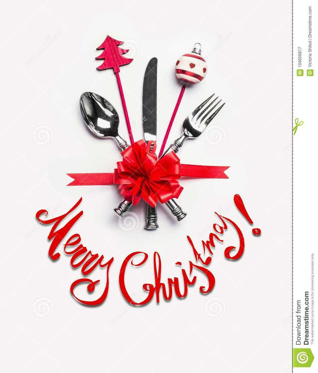 Merry Christmas Card With Table Place Setting With Cutlery, Red ...