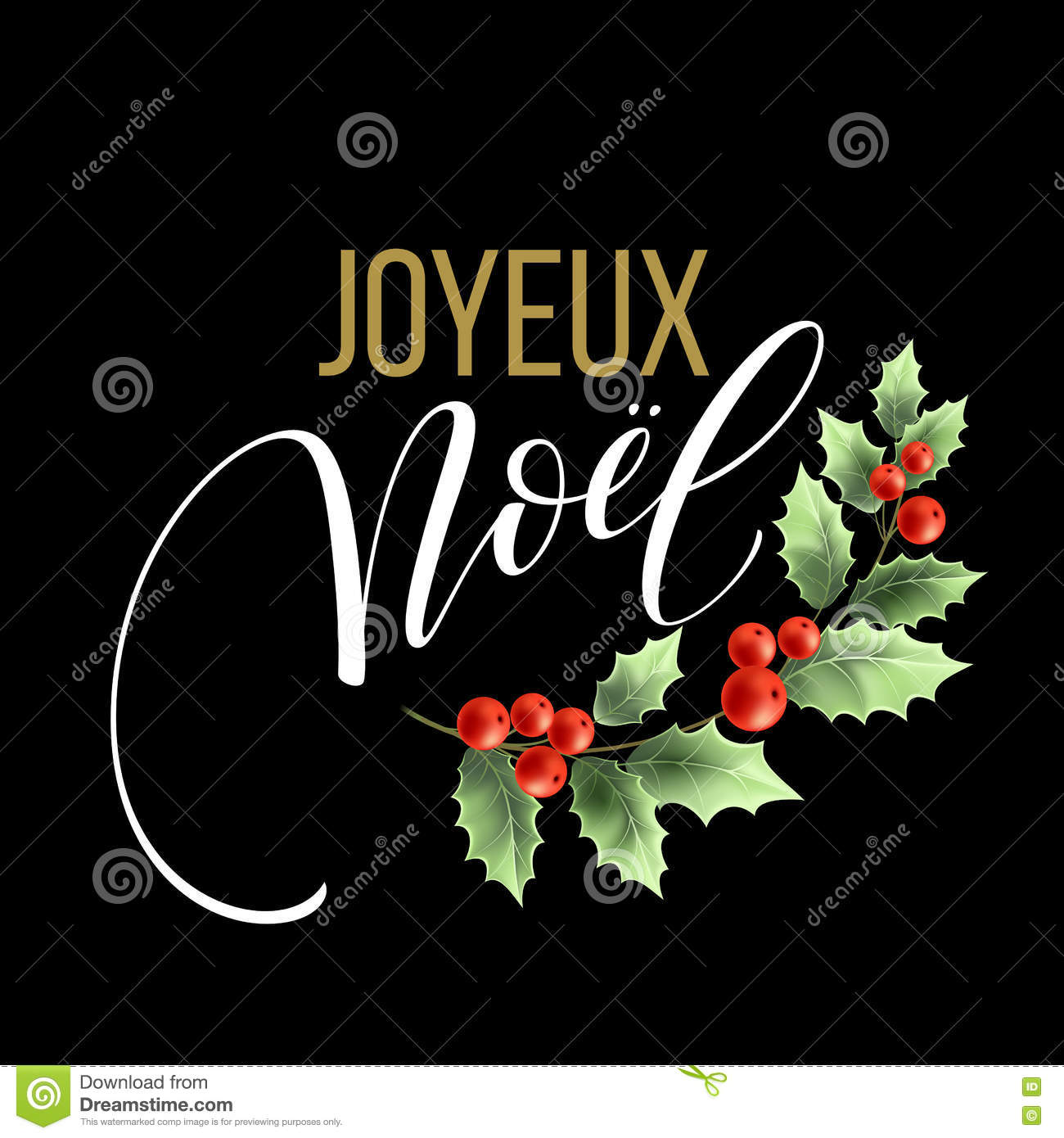 download merry christmas card template with greetings in french language joyeux noel vector illustration