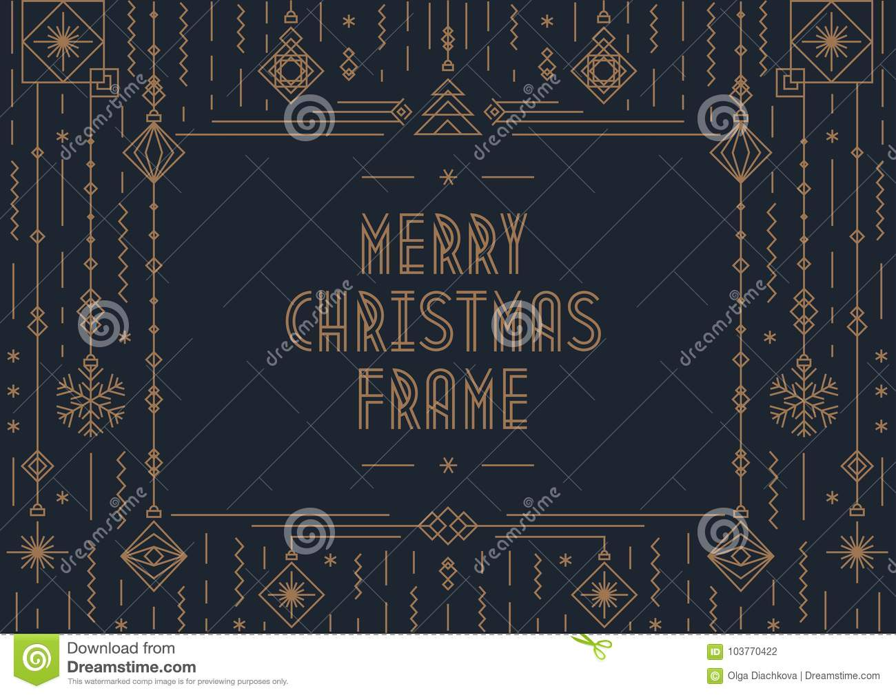 Merry Christmas Card Template With New Year Toy Gold Art Deco Style
