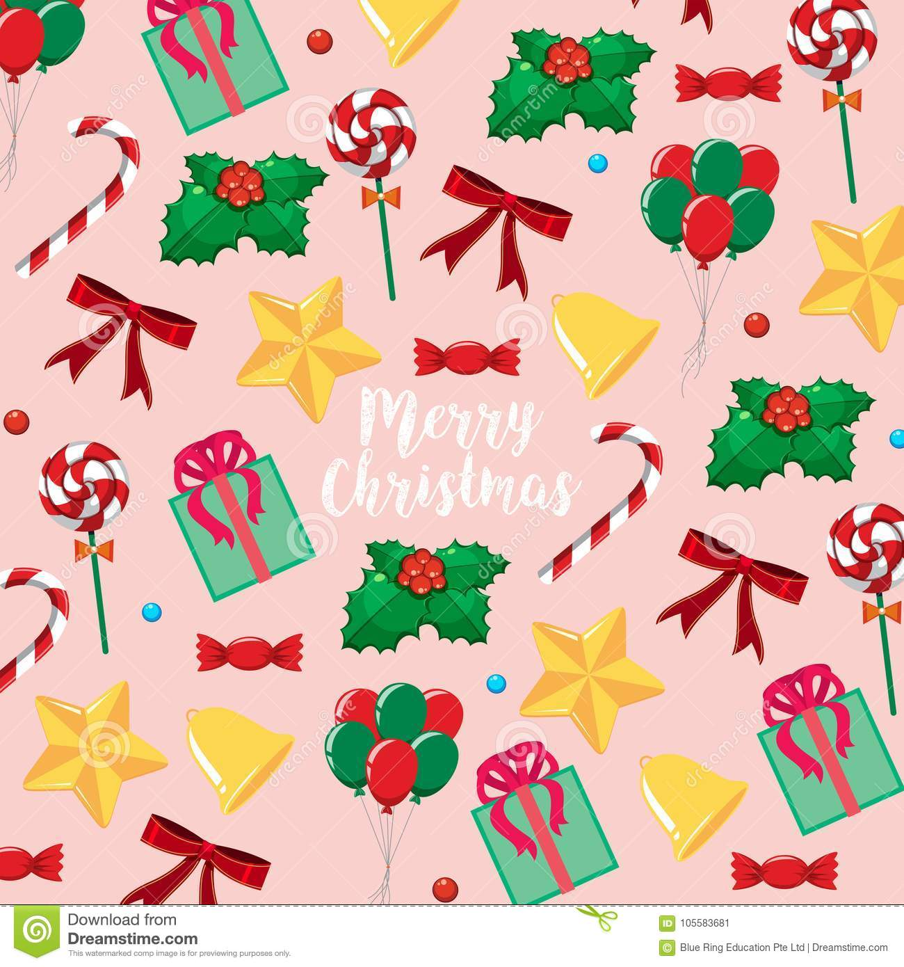 merry christmas card template with presents and candy stock vector