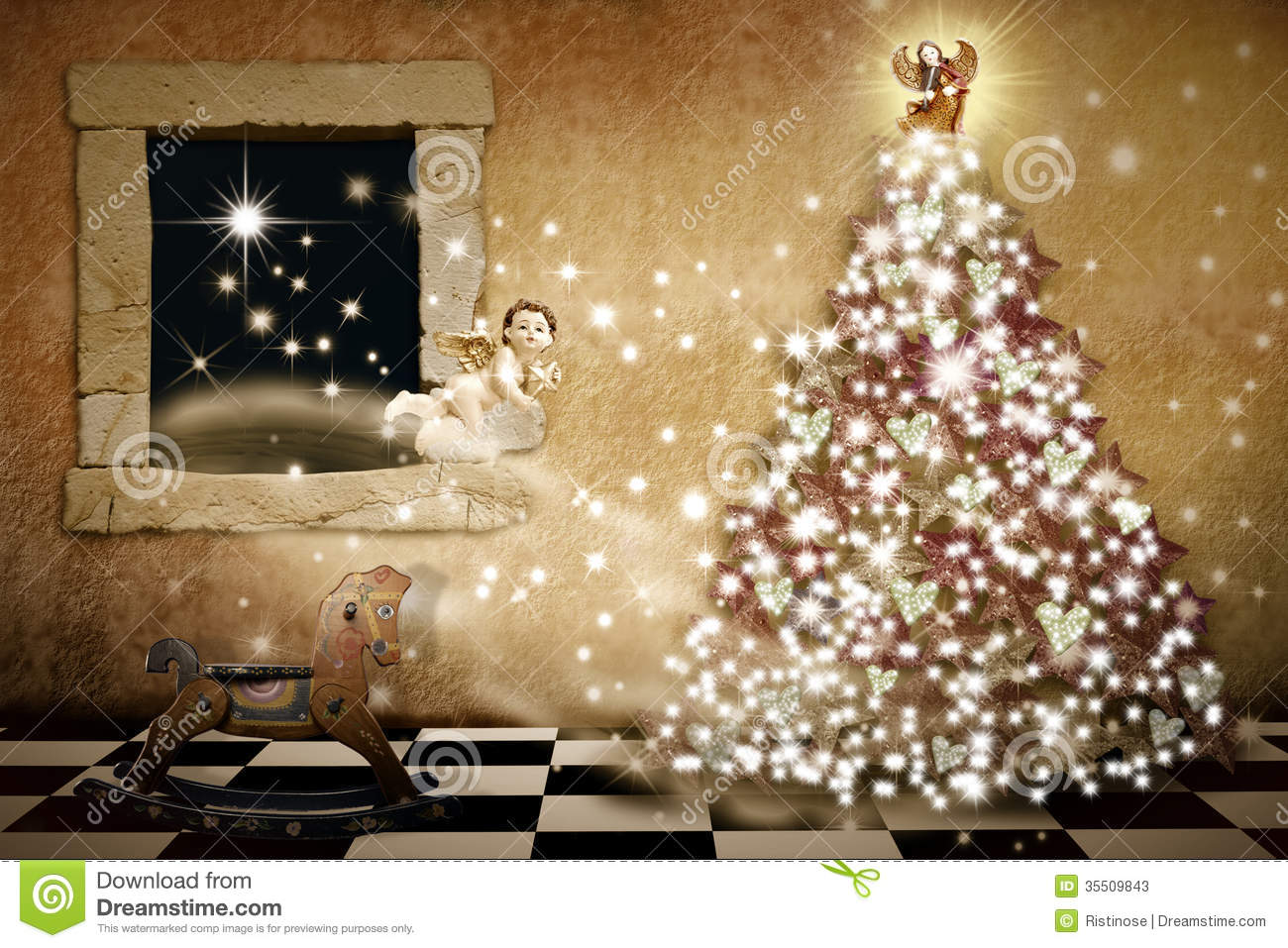 Merry christmas card vintage style stock illustration for Style christmas