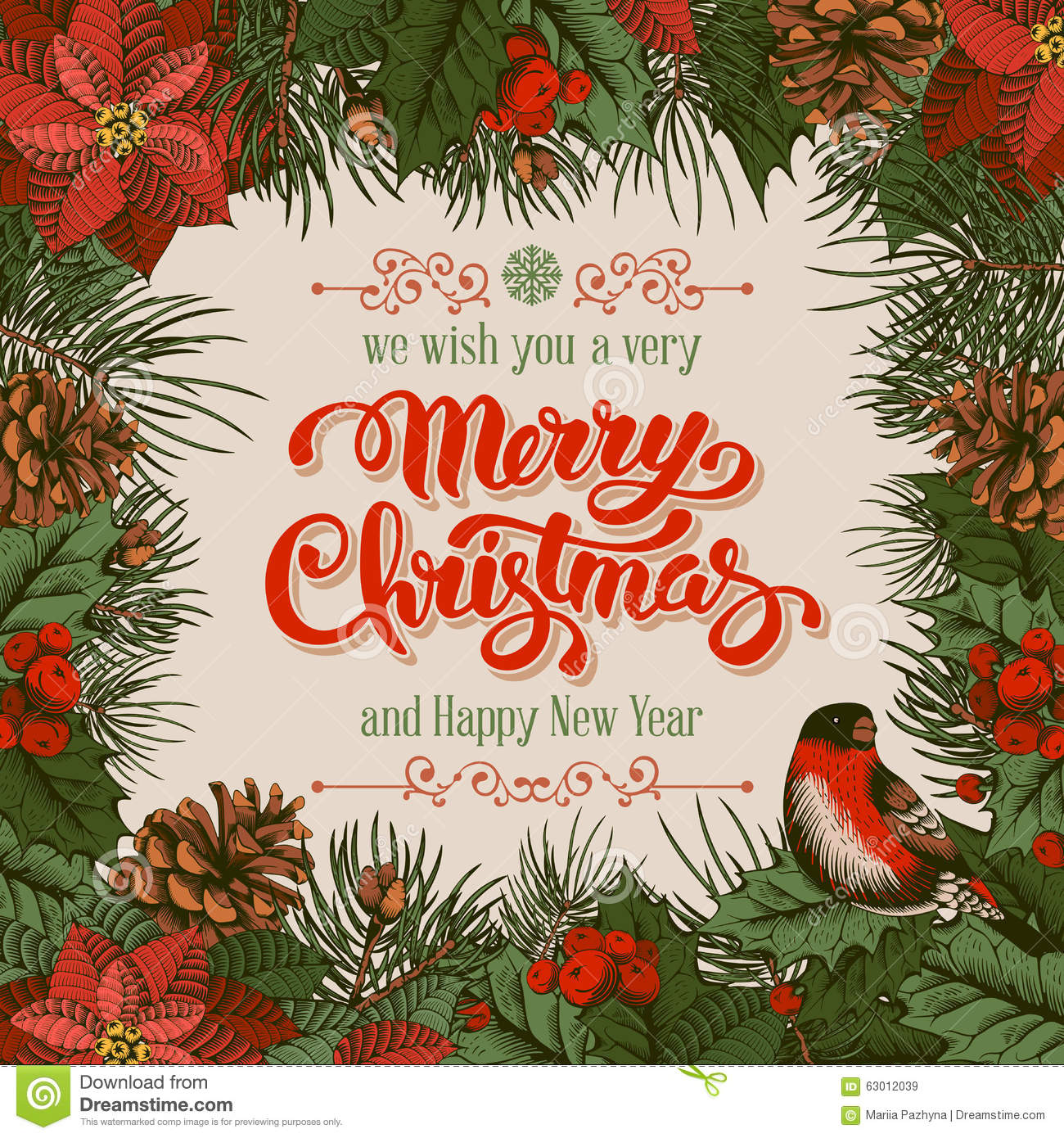 Merry Christmas card stock vector. Illustration of poinsettia - 63012039
