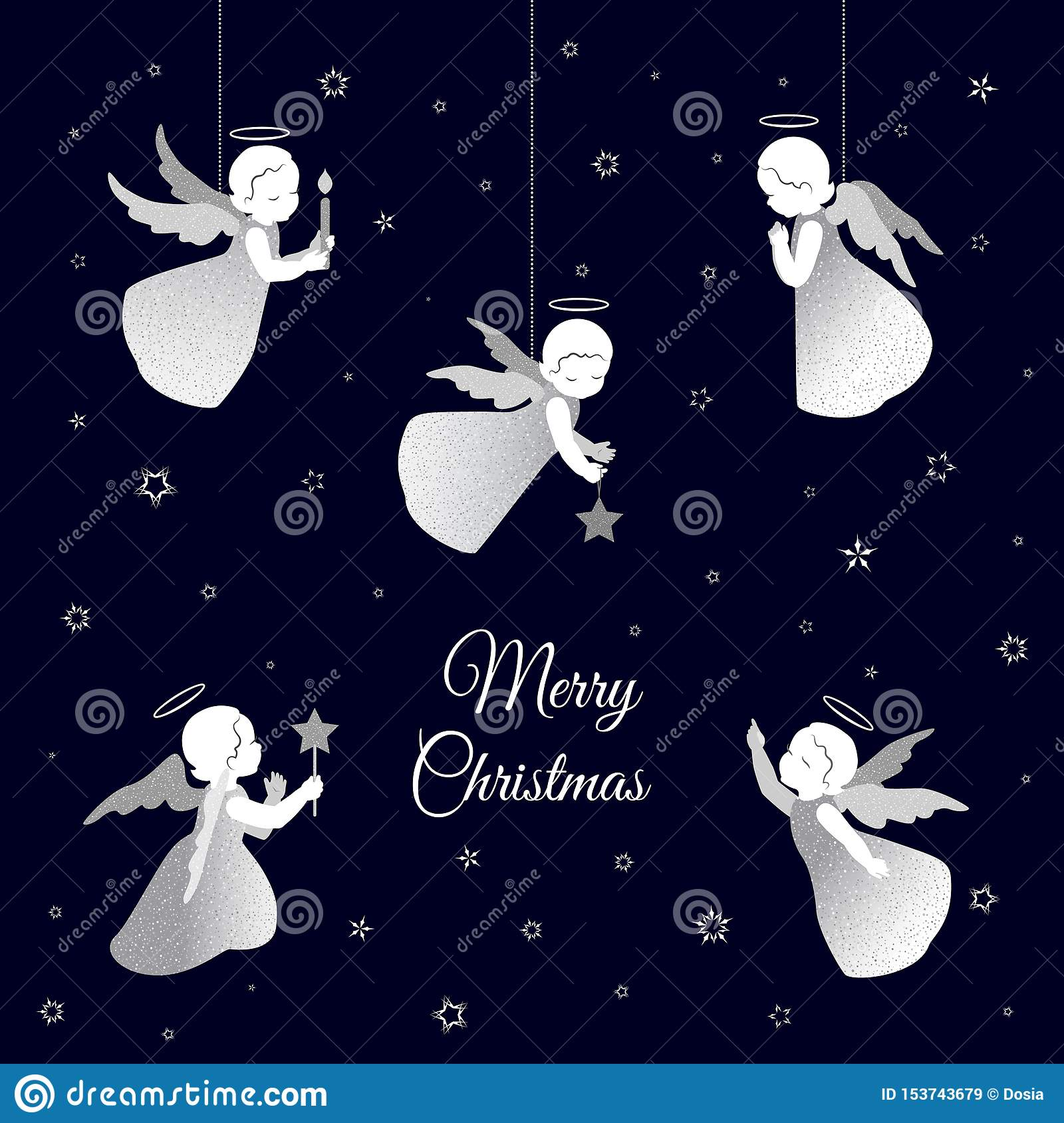 Merry Christmas card with white angels and snowflakes